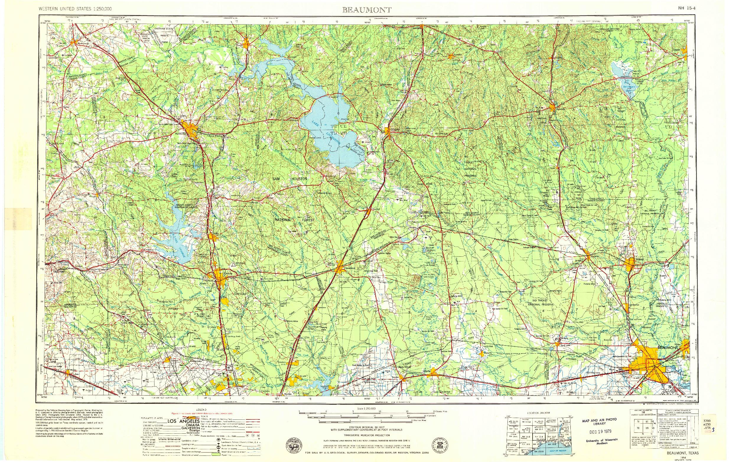 USGS 1:250000-SCALE QUADRANGLE FOR BEAUMONT, TX 1954