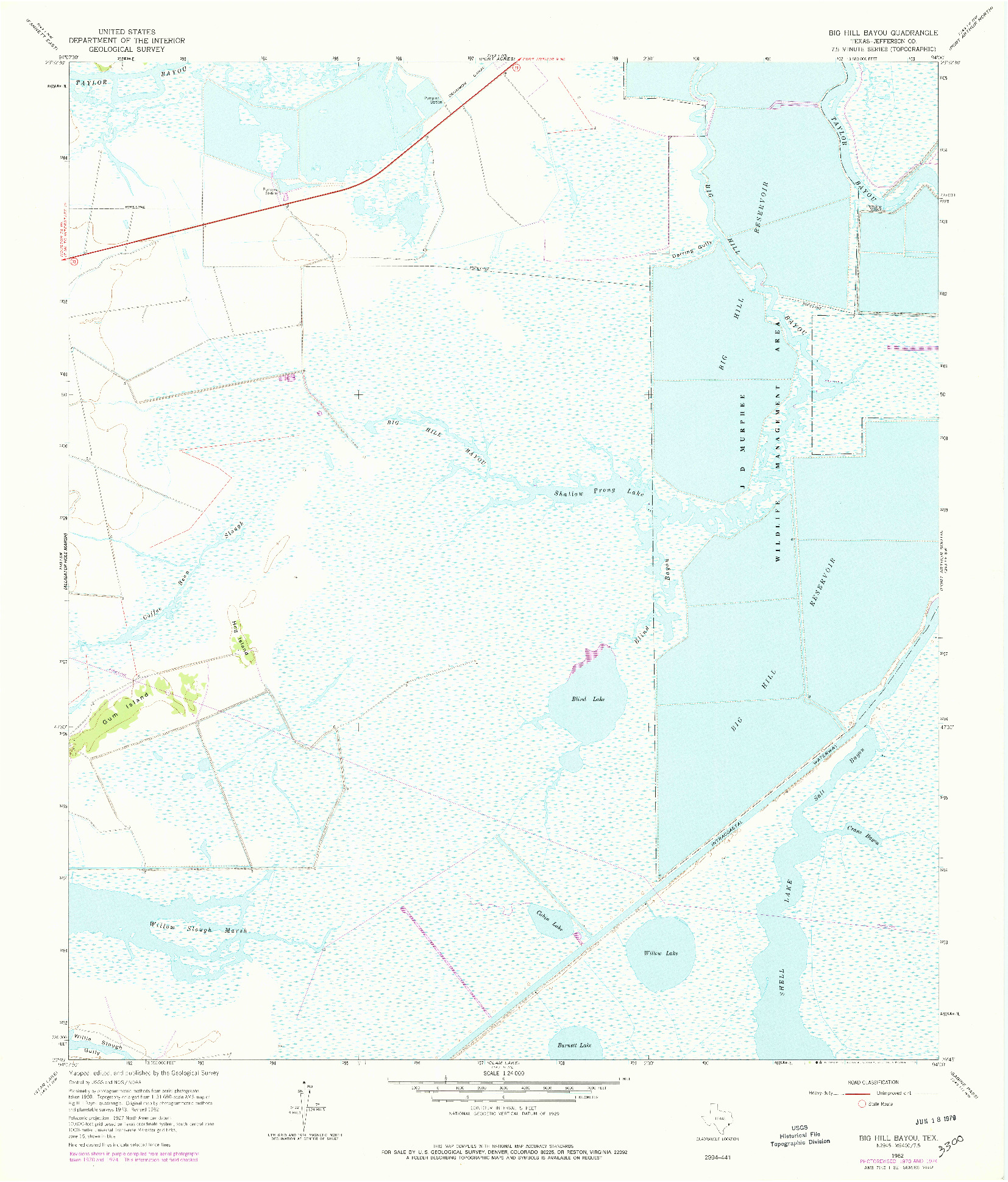USGS 1:24000-SCALE QUADRANGLE FOR BIG HILL BAYOU, TX 1962