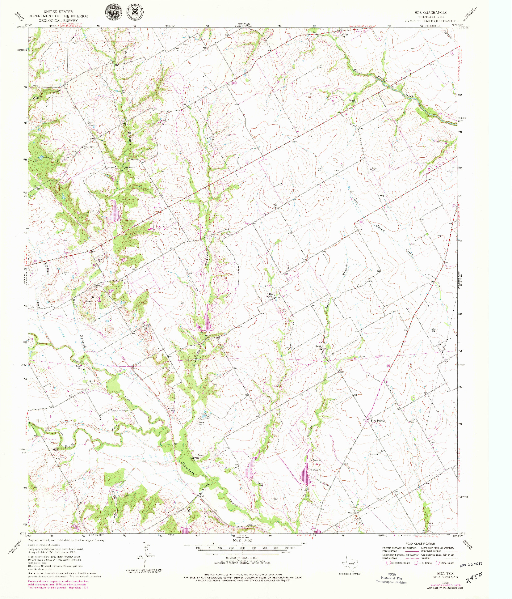 USGS 1:24000-SCALE QUADRANGLE FOR BOZ, TX 1960
