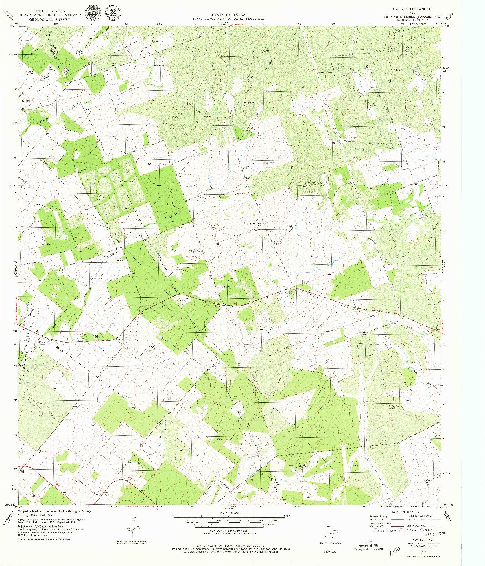 USGS 1:24000-SCALE QUADRANGLE FOR CADIZ, TX 1979