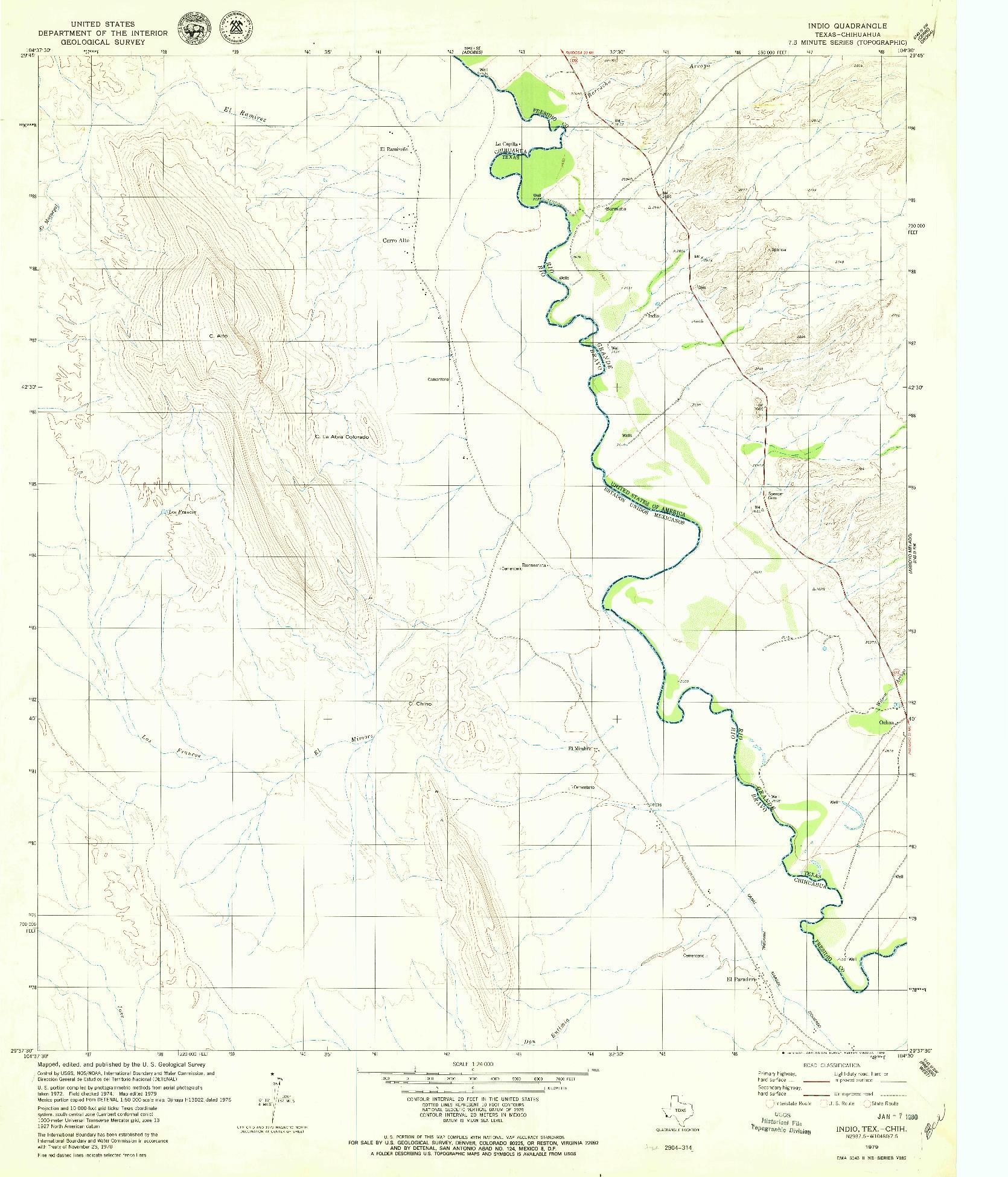 USGS 1:24000-SCALE QUADRANGLE FOR INDIO, TX 1979