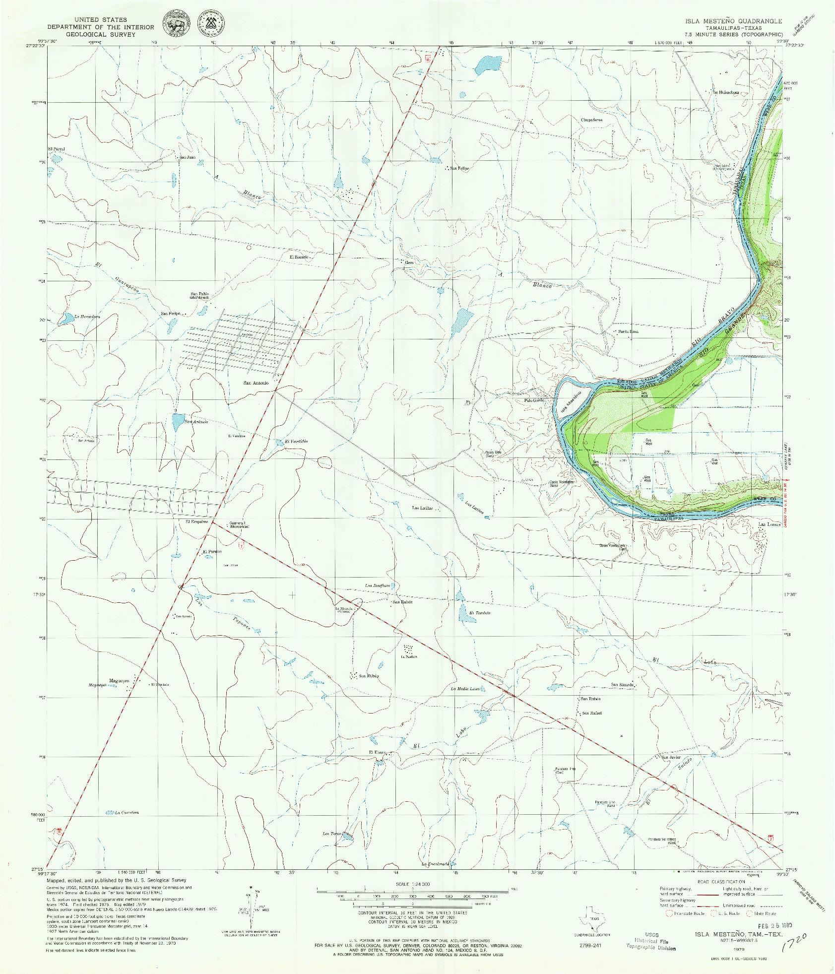 USGS 1:24000-SCALE QUADRANGLE FOR ISLA MESTENO, TX 1979