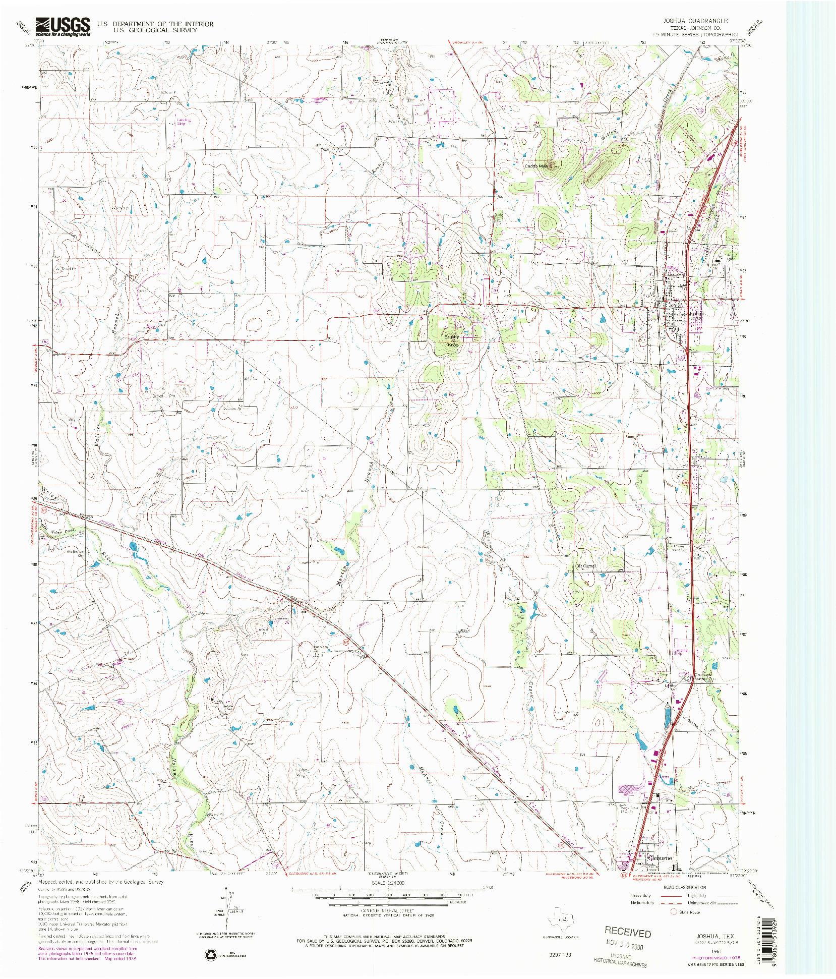 USGS 1:24000-SCALE QUADRANGLE FOR JOSHUA, TX 1961