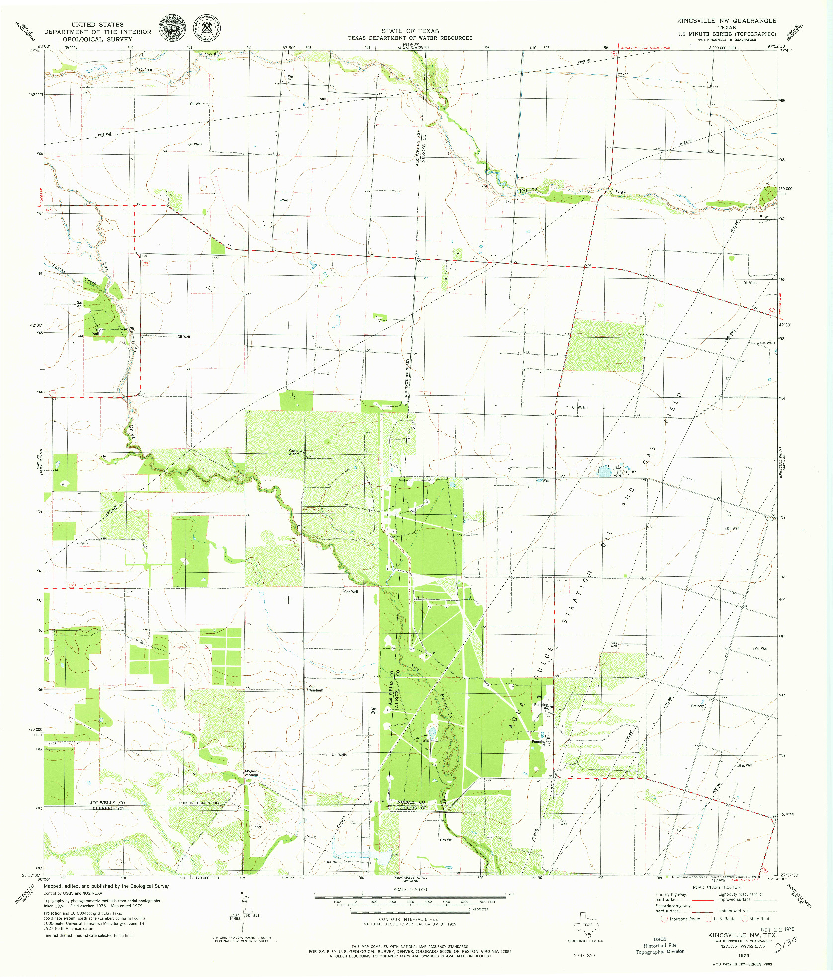 USGS 1:24000-SCALE QUADRANGLE FOR KINGSVILLE NW, TX 1979