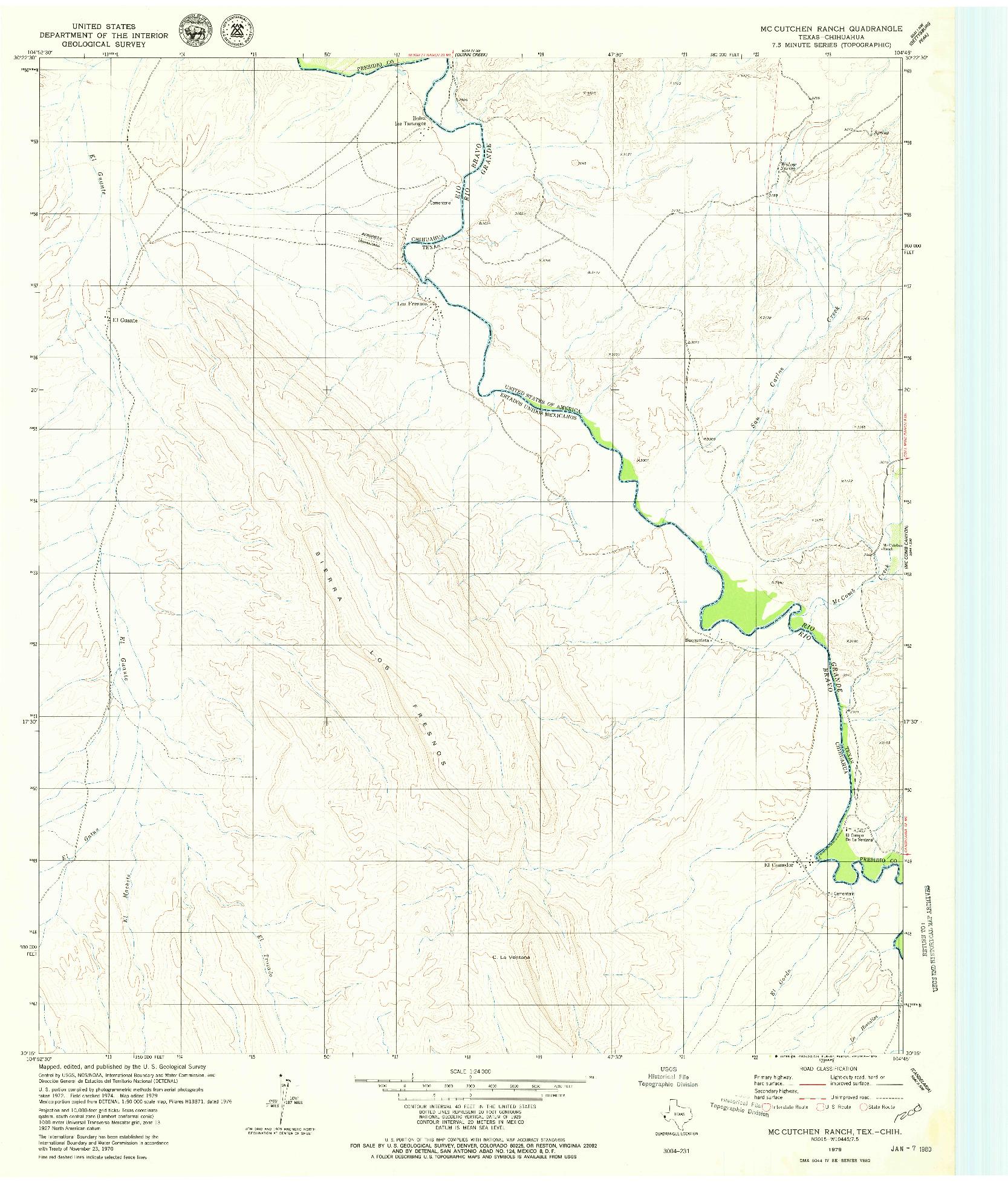 USGS 1:24000-SCALE QUADRANGLE FOR MCCUTCHEN RANCH, TX 1979