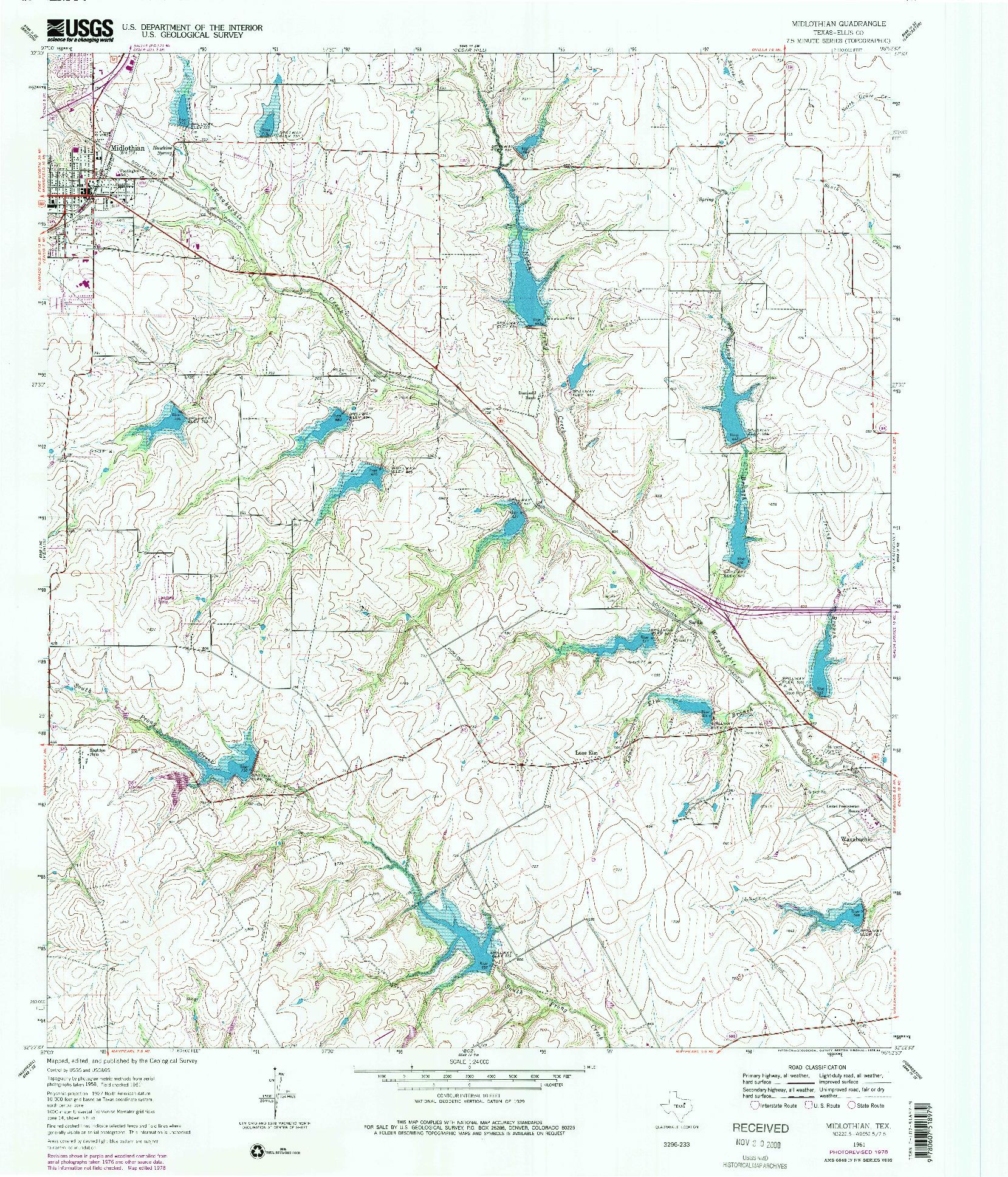 USGS 1:24000-SCALE QUADRANGLE FOR MIDLOTHIAN, TX 1961