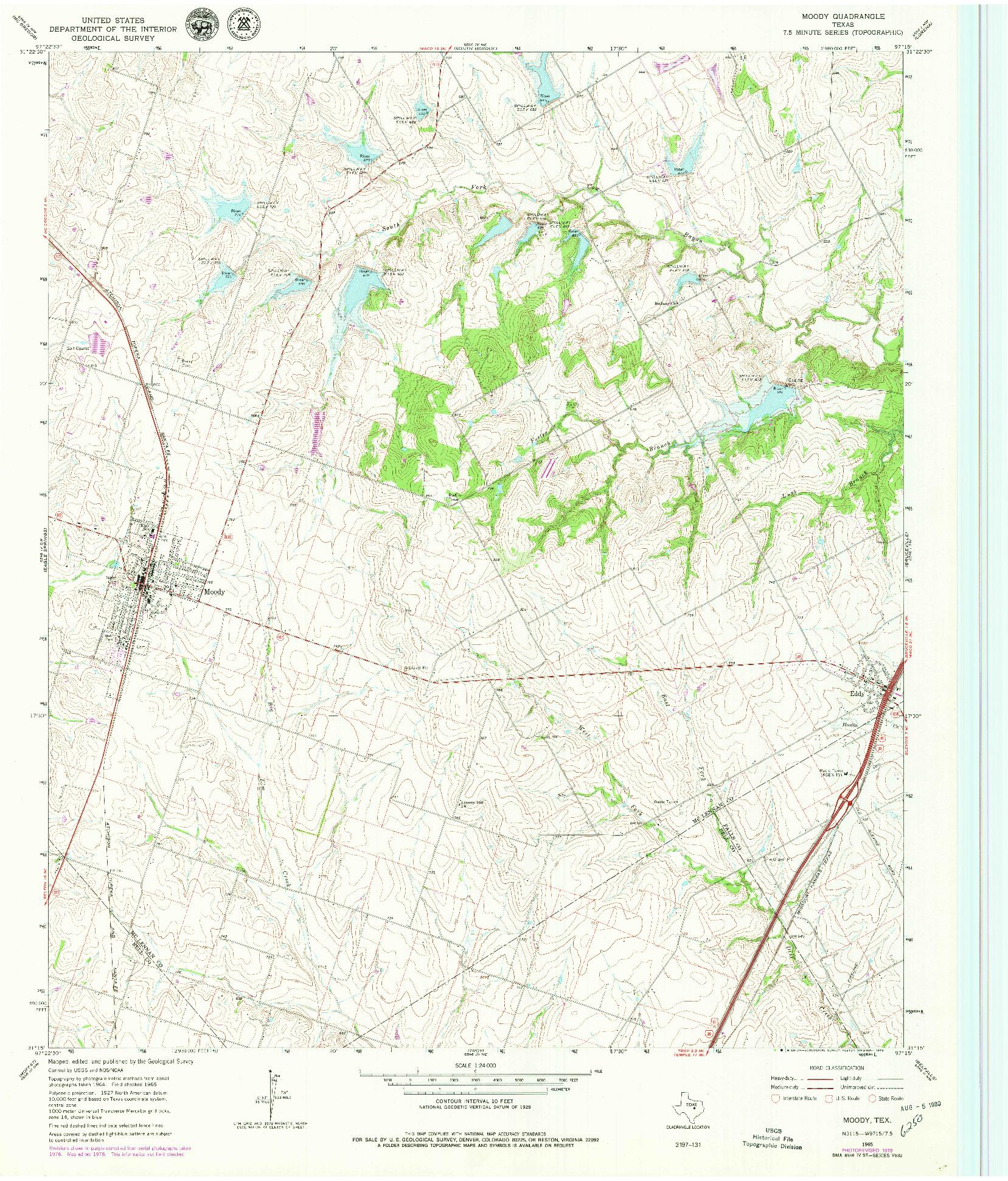 USGS 1:24000-SCALE QUADRANGLE FOR MOODY, TX 1965