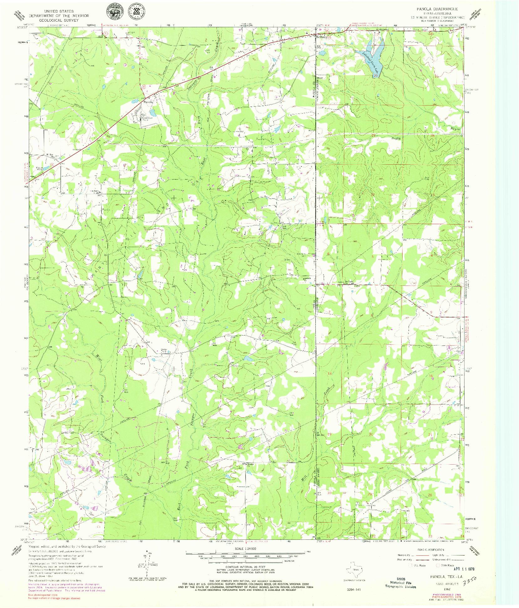 USGS 1:24000-SCALE QUADRANGLE FOR PANOLA, TX 1962