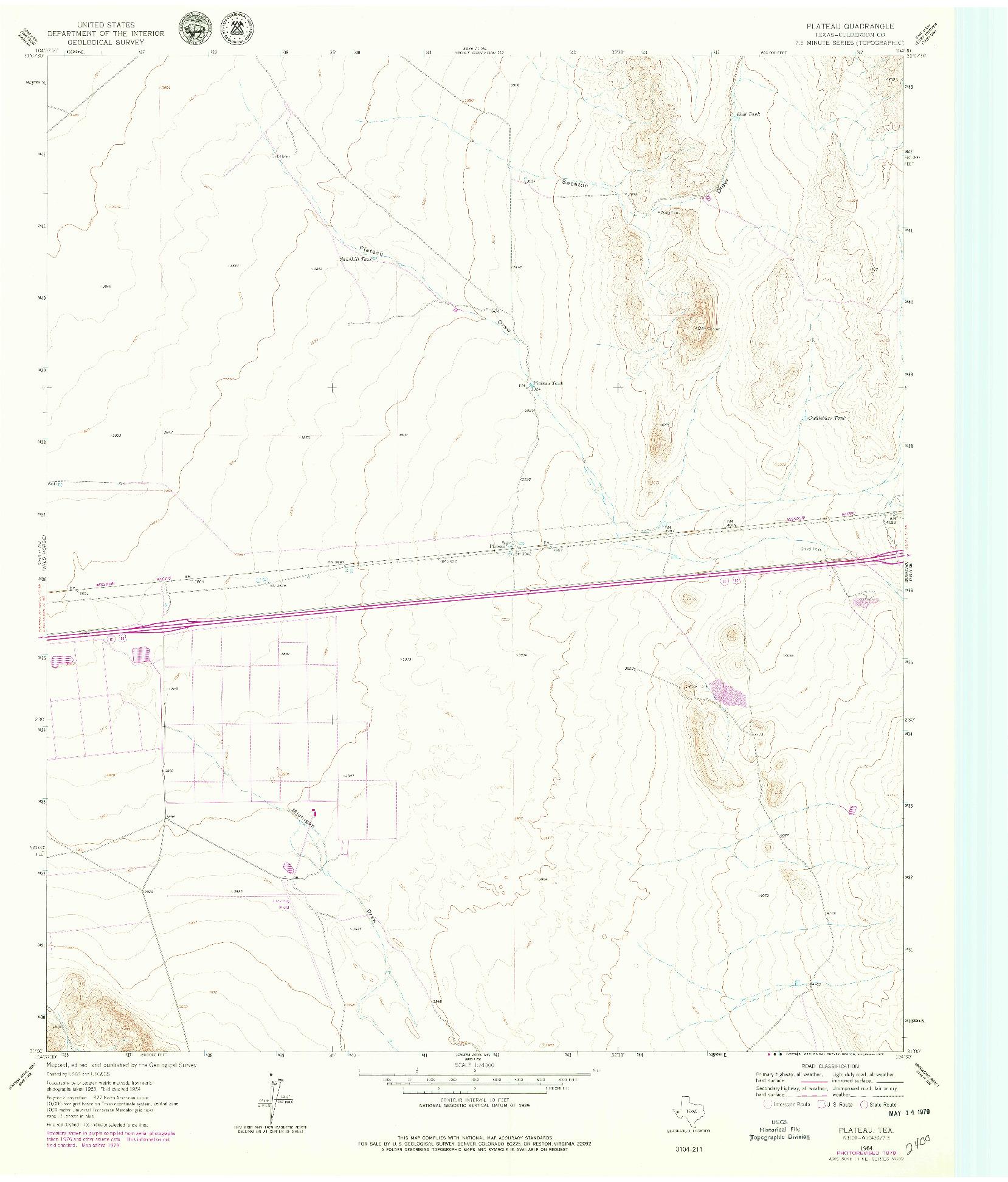 USGS 1:24000-SCALE QUADRANGLE FOR PLATEAU, TX 1964