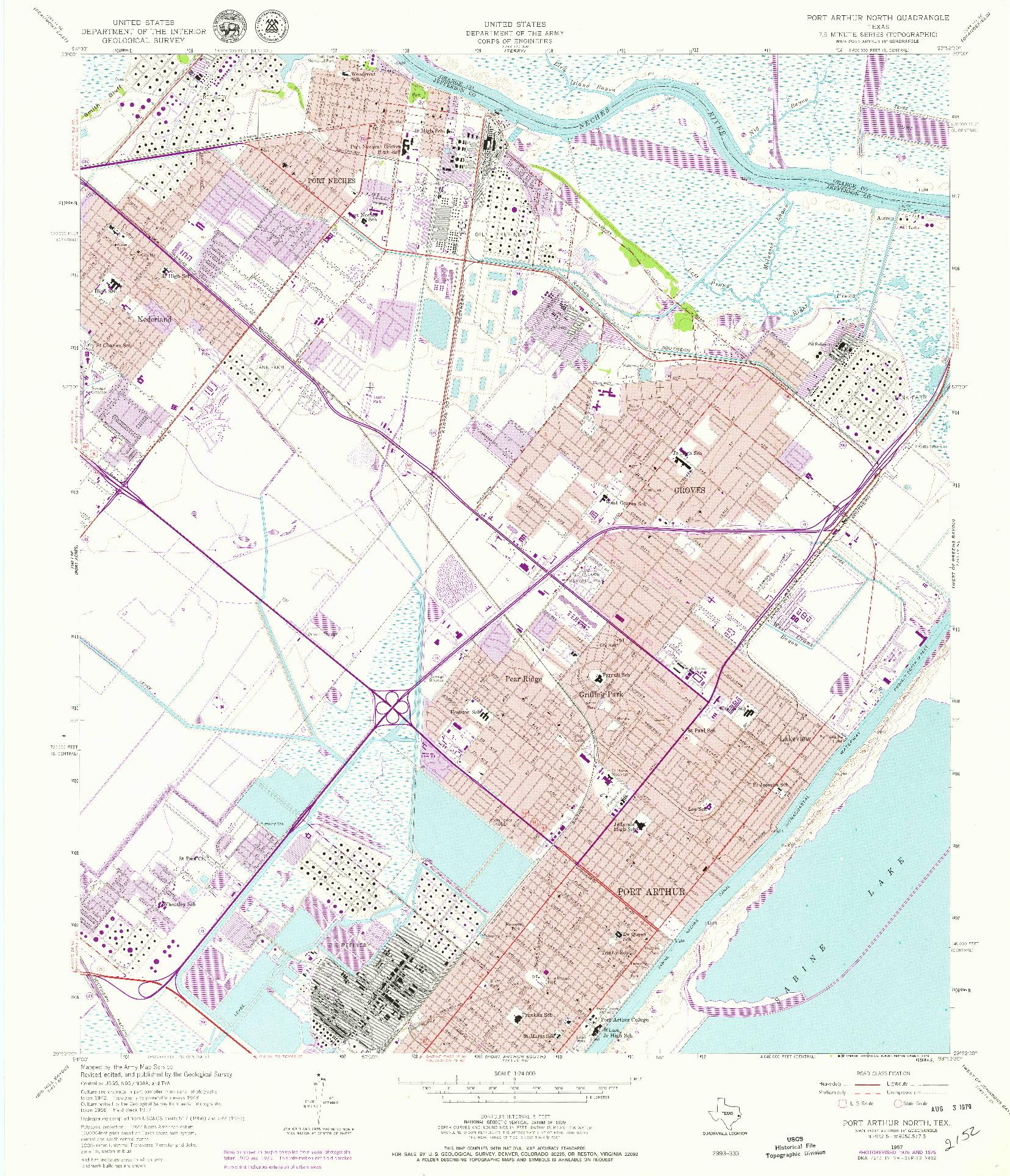 USGS 1:24000-SCALE QUADRANGLE FOR PORT ARTHUR NORTH, TX 1957