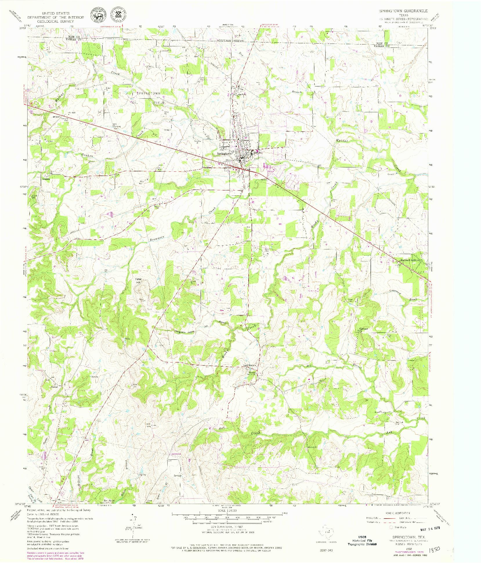 USGS 1:24000-SCALE QUADRANGLE FOR SPRINGTOWN, TX 1958
