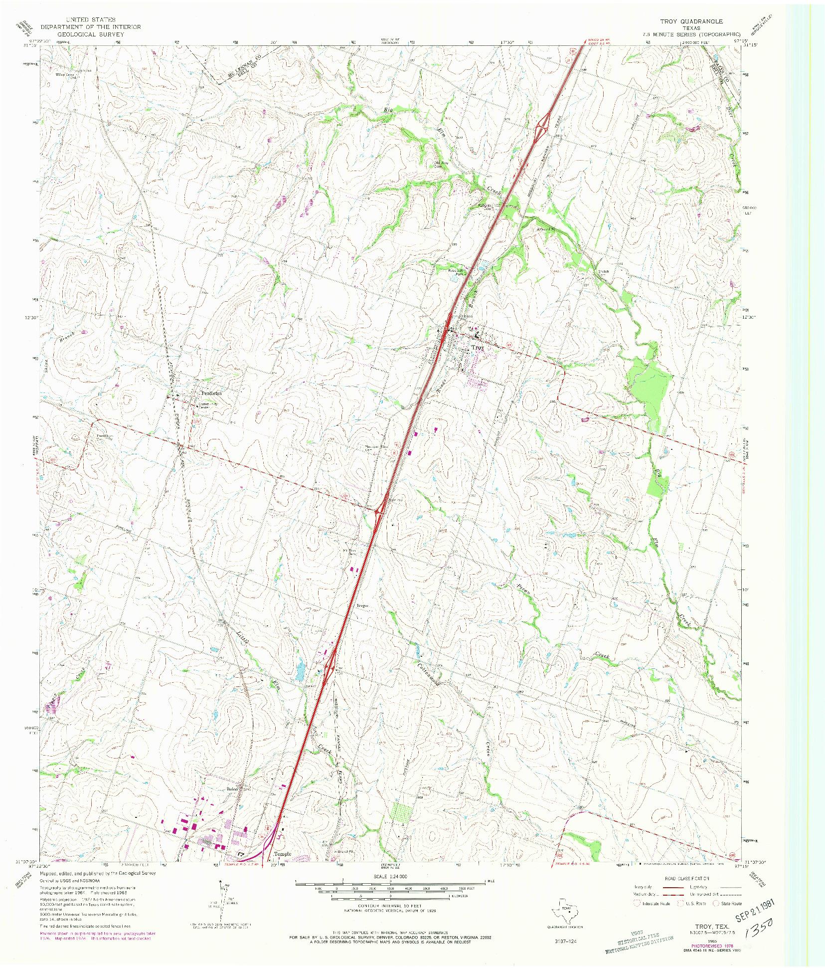 USGS 1:24000-SCALE QUADRANGLE FOR TROY, TX 1965