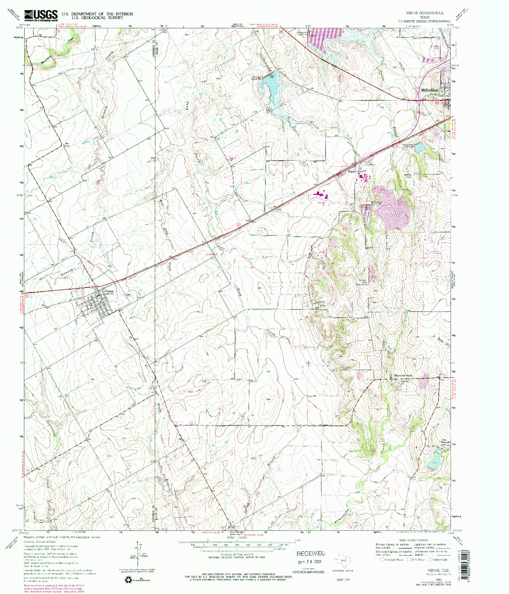 USGS 1:24000-SCALE QUADRANGLE FOR VENUS, TX 1961