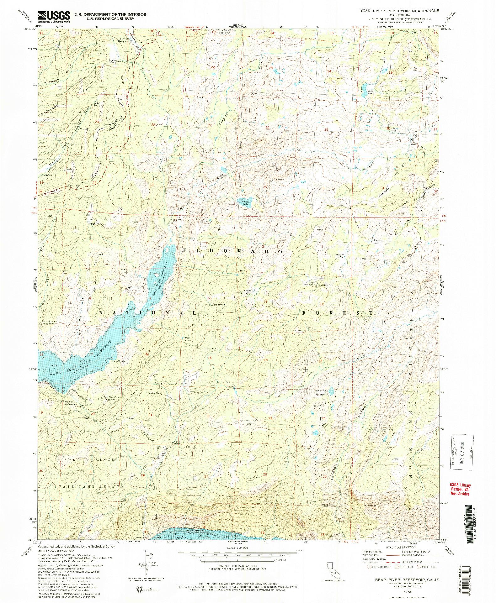 USGS 1:24000-SCALE QUADRANGLE FOR BEAR RIVER RESERVOIR, CA 1979