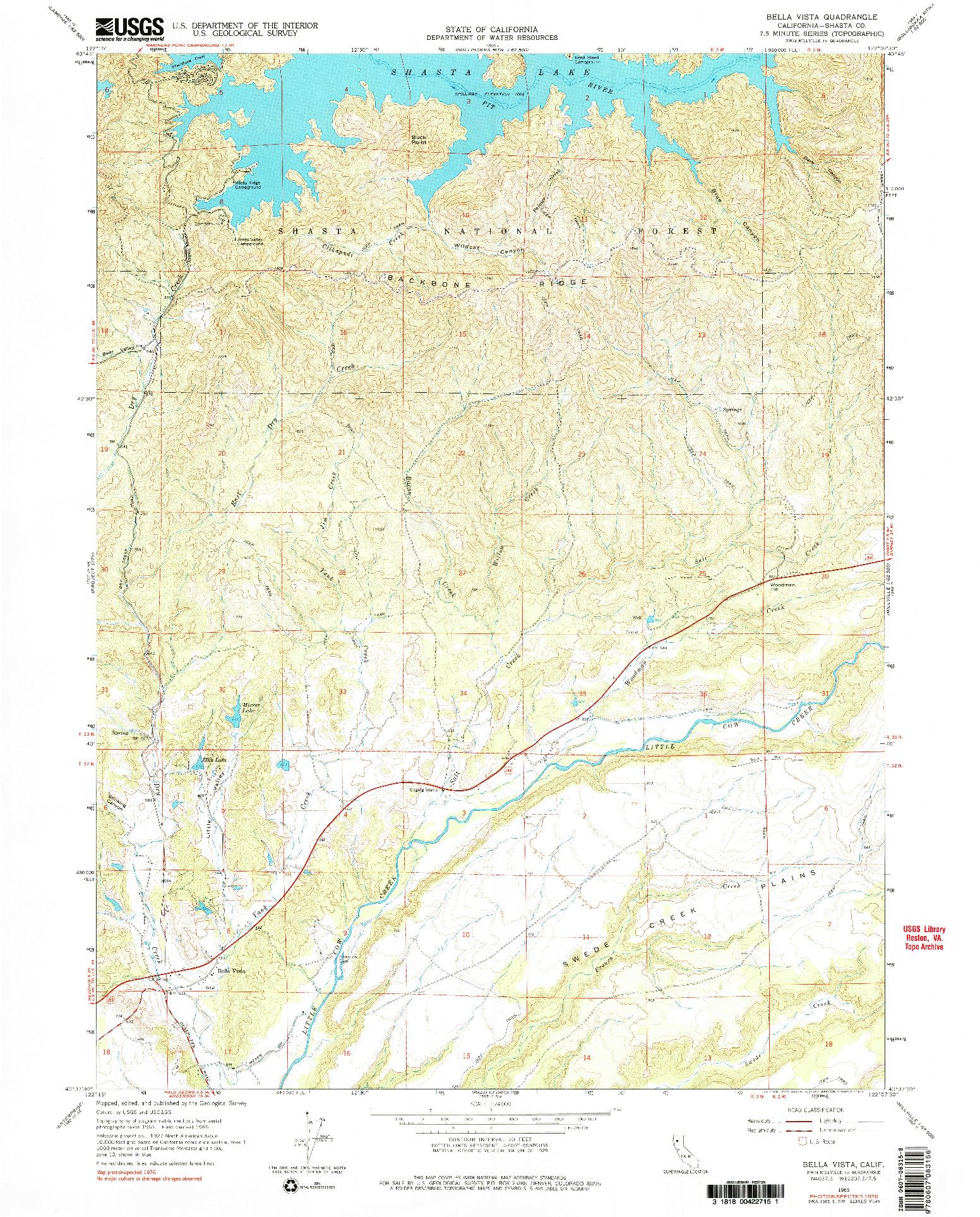USGS 1:24000-SCALE QUADRANGLE FOR BELLA VISTA, CA 1965