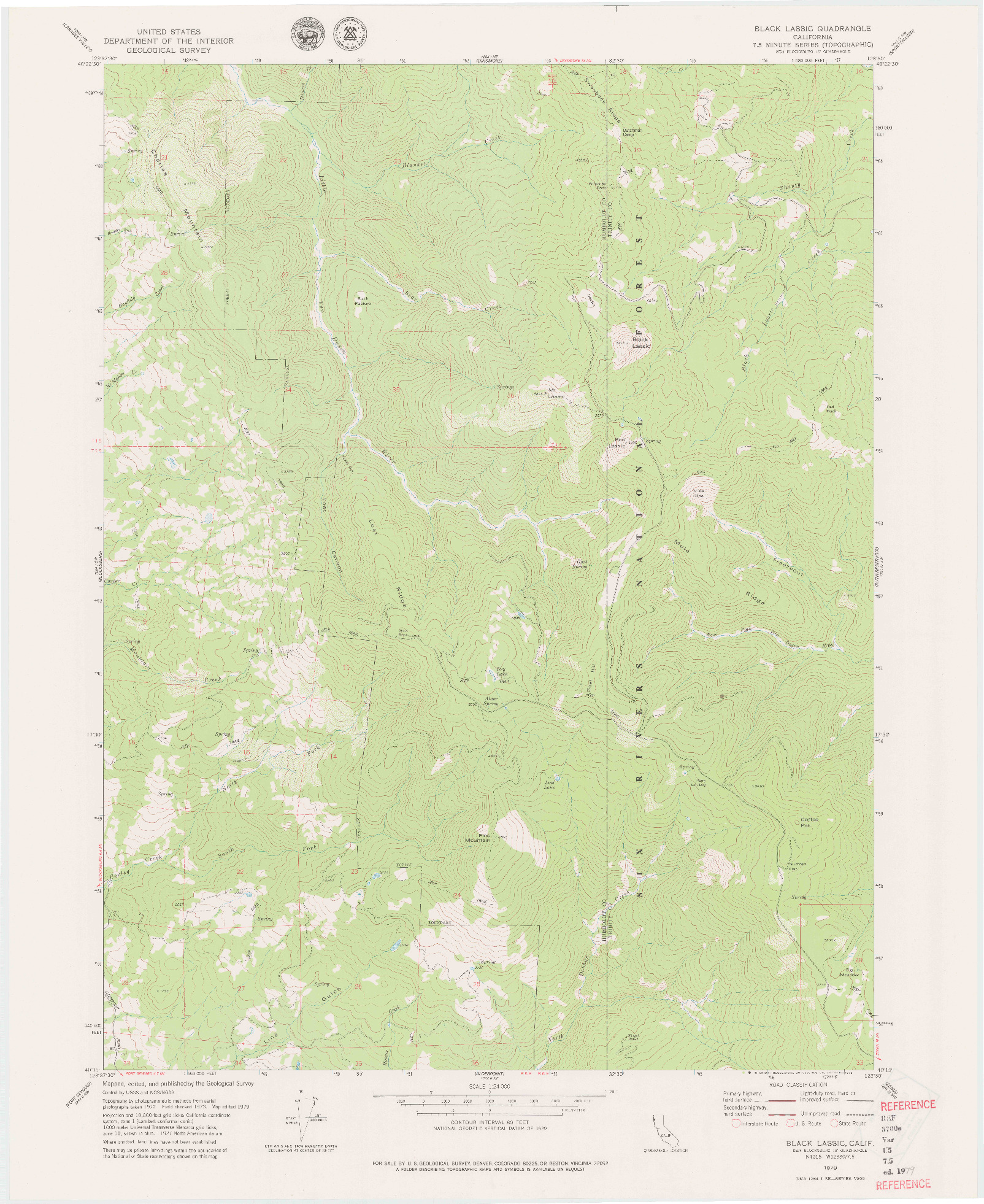 USGS 1:24000-SCALE QUADRANGLE FOR BLACK LASSIC, CA 1979