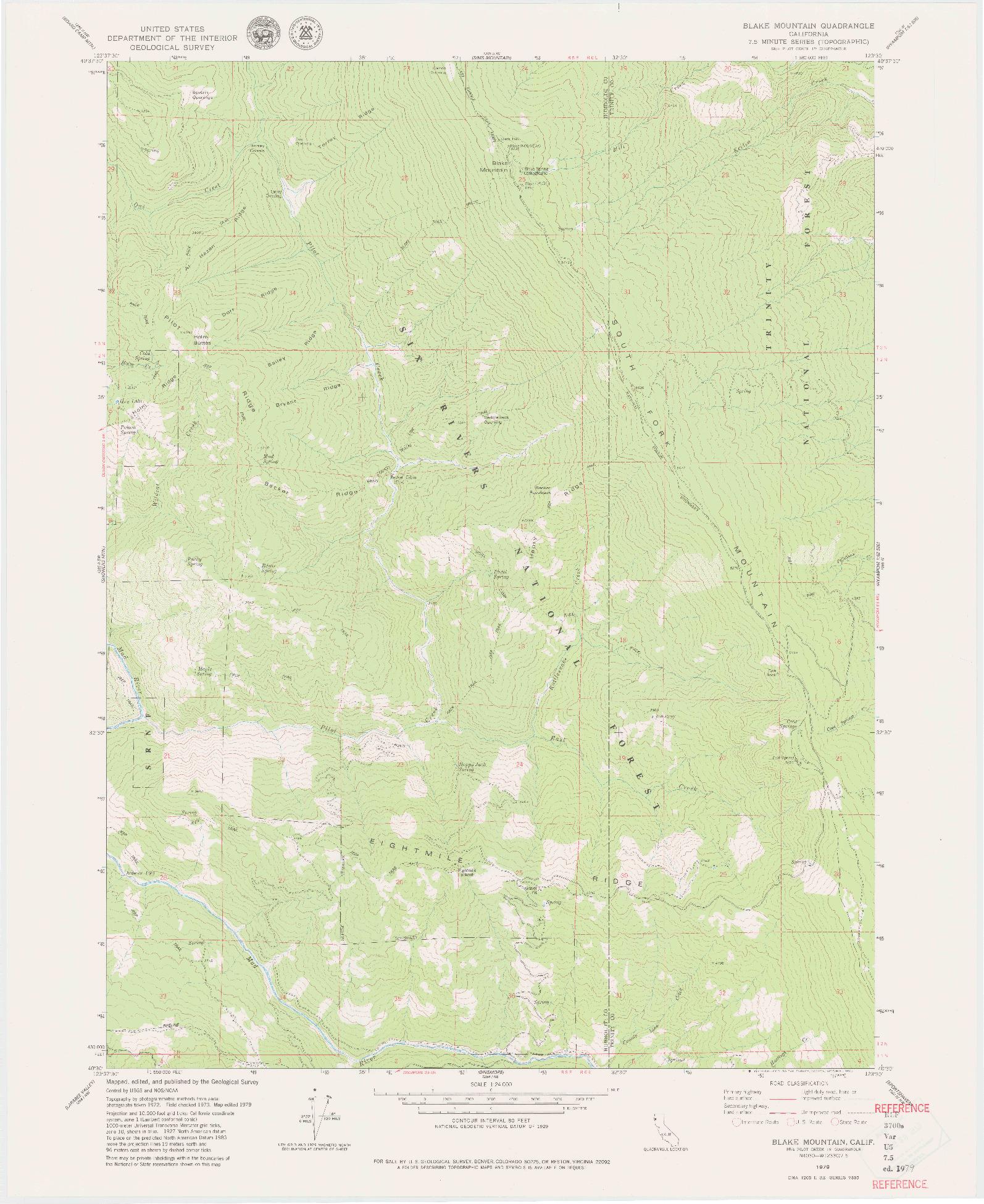 USGS 1:24000-SCALE QUADRANGLE FOR BLAKE MOUNTAIN, CA 1979