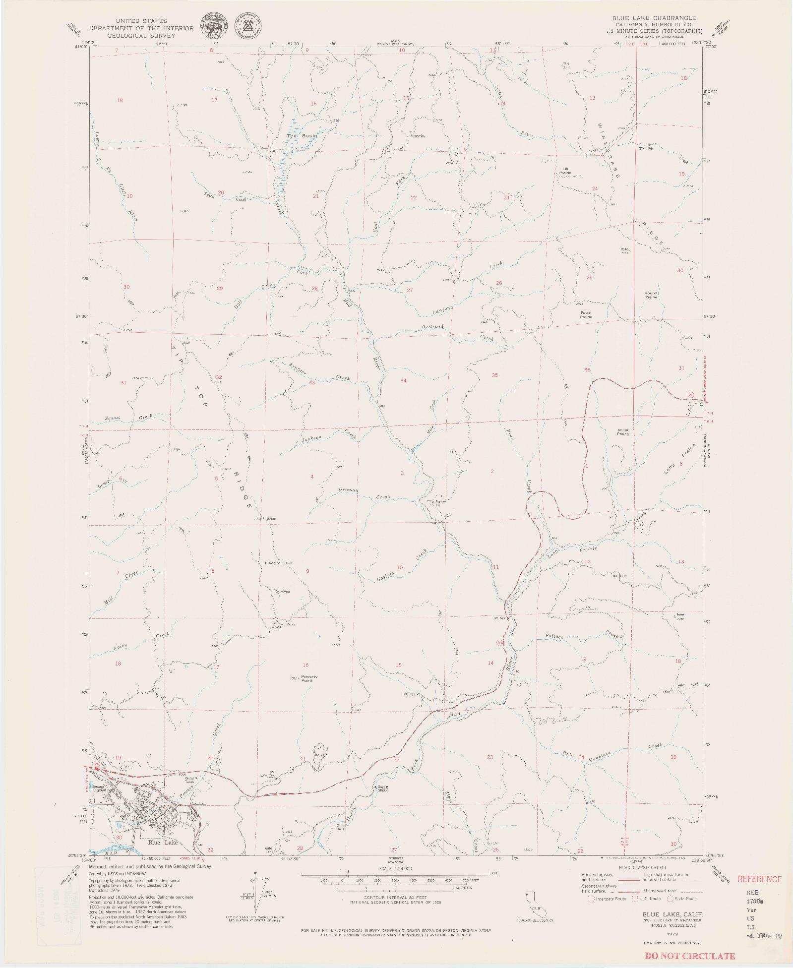 USGS 1:24000-SCALE QUADRANGLE FOR BLUE LAKE, CA 1979