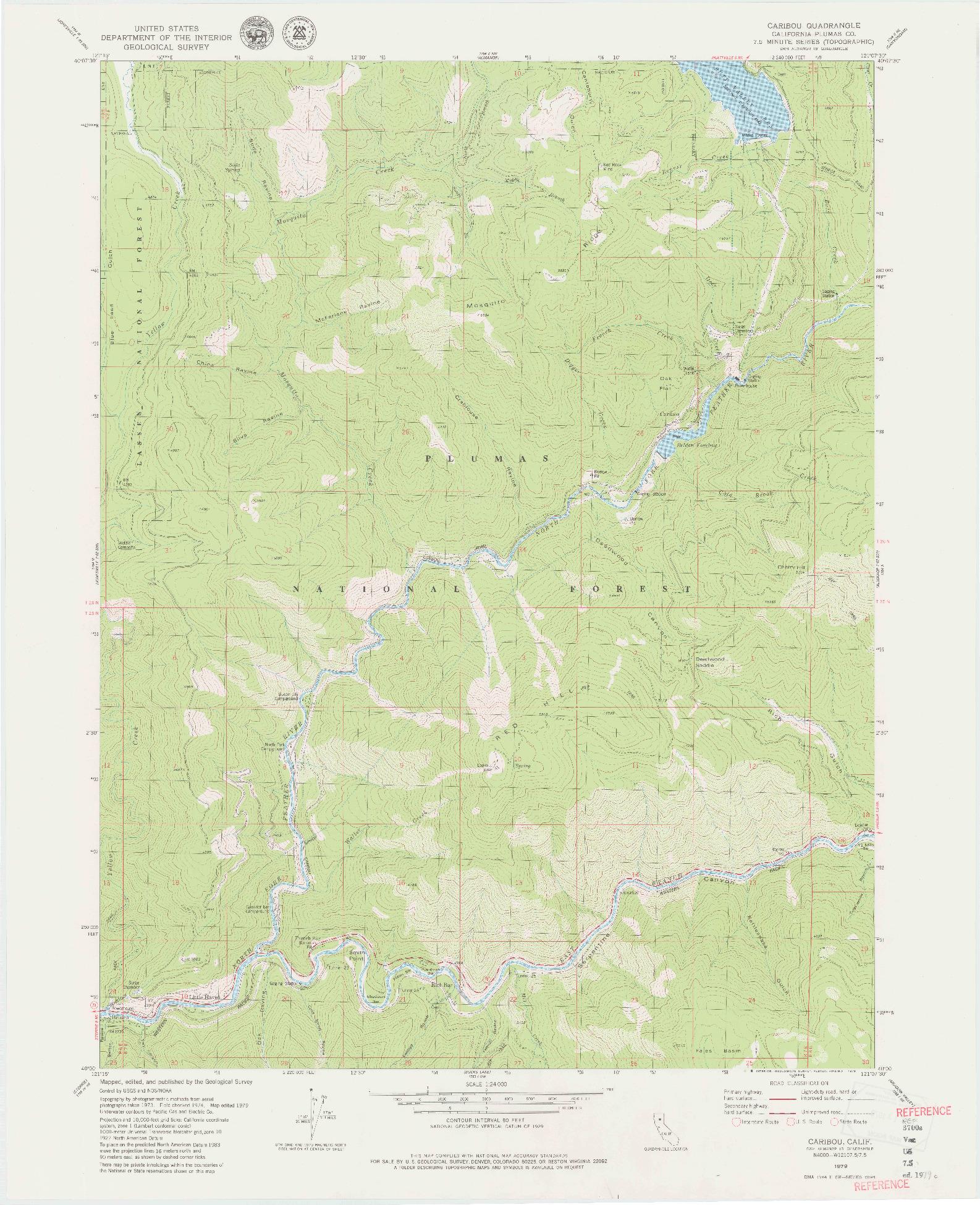 USGS 1:24000-SCALE QUADRANGLE FOR CARIBOU, CA 1979