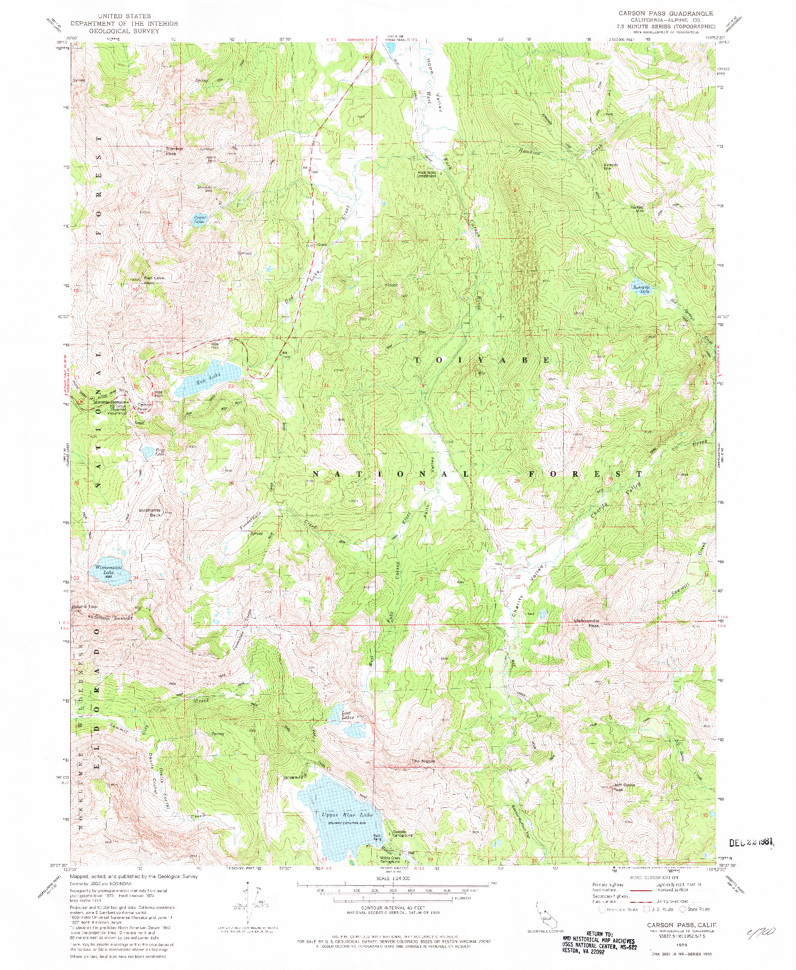 USGS 1:24000-SCALE QUADRANGLE FOR CARSON PASS, CA 1979