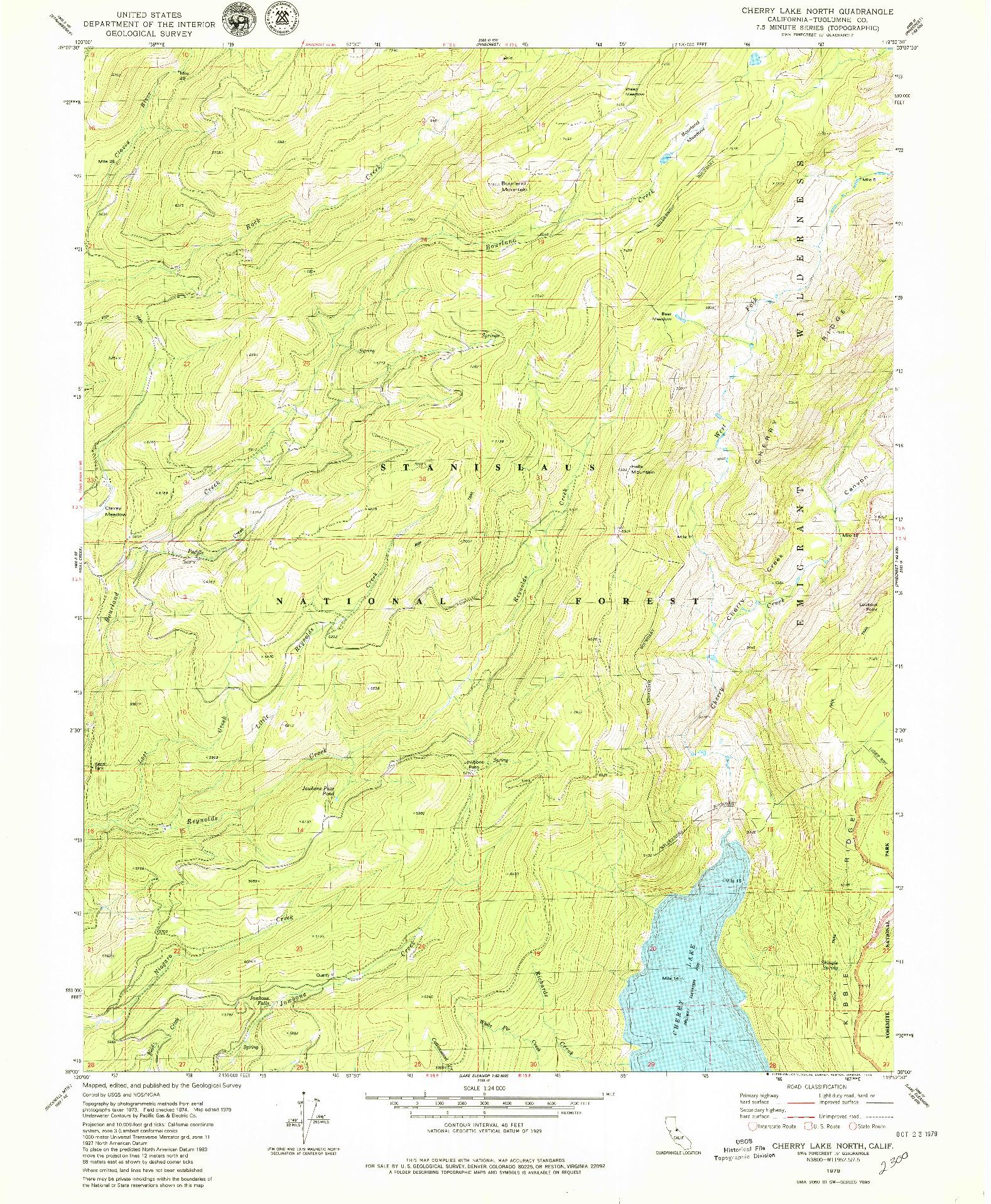 USGS 1:24000-SCALE QUADRANGLE FOR CHERRY LAKE NORTH, CA 1979
