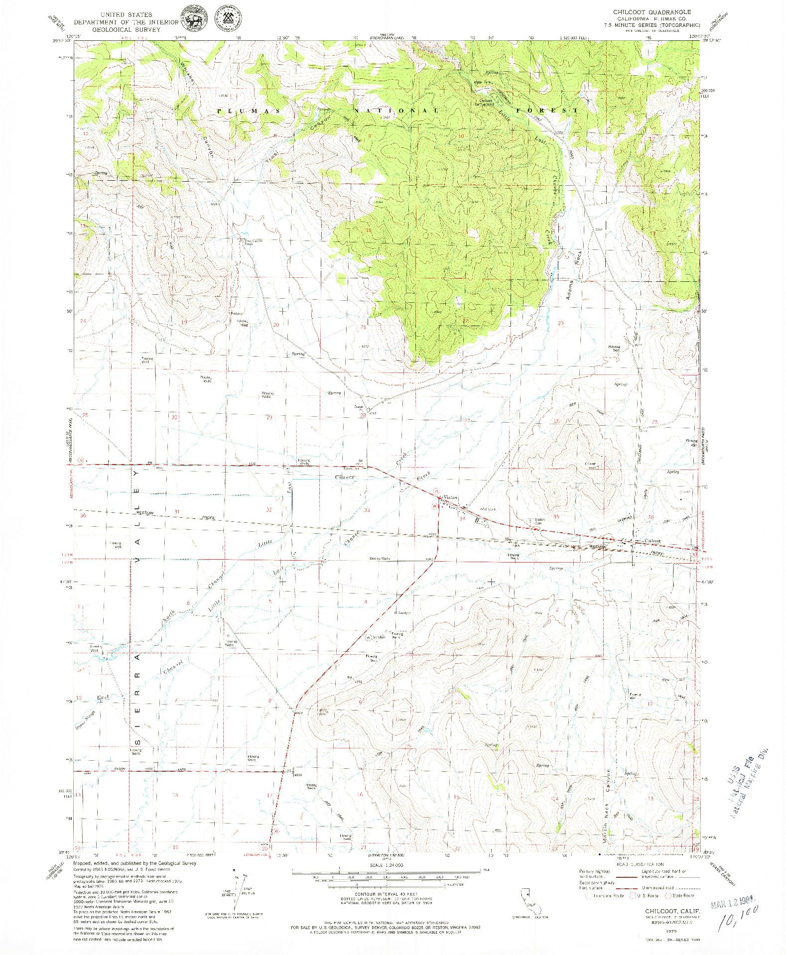 USGS 1:24000-SCALE QUADRANGLE FOR CHILCOOT, CA 1979