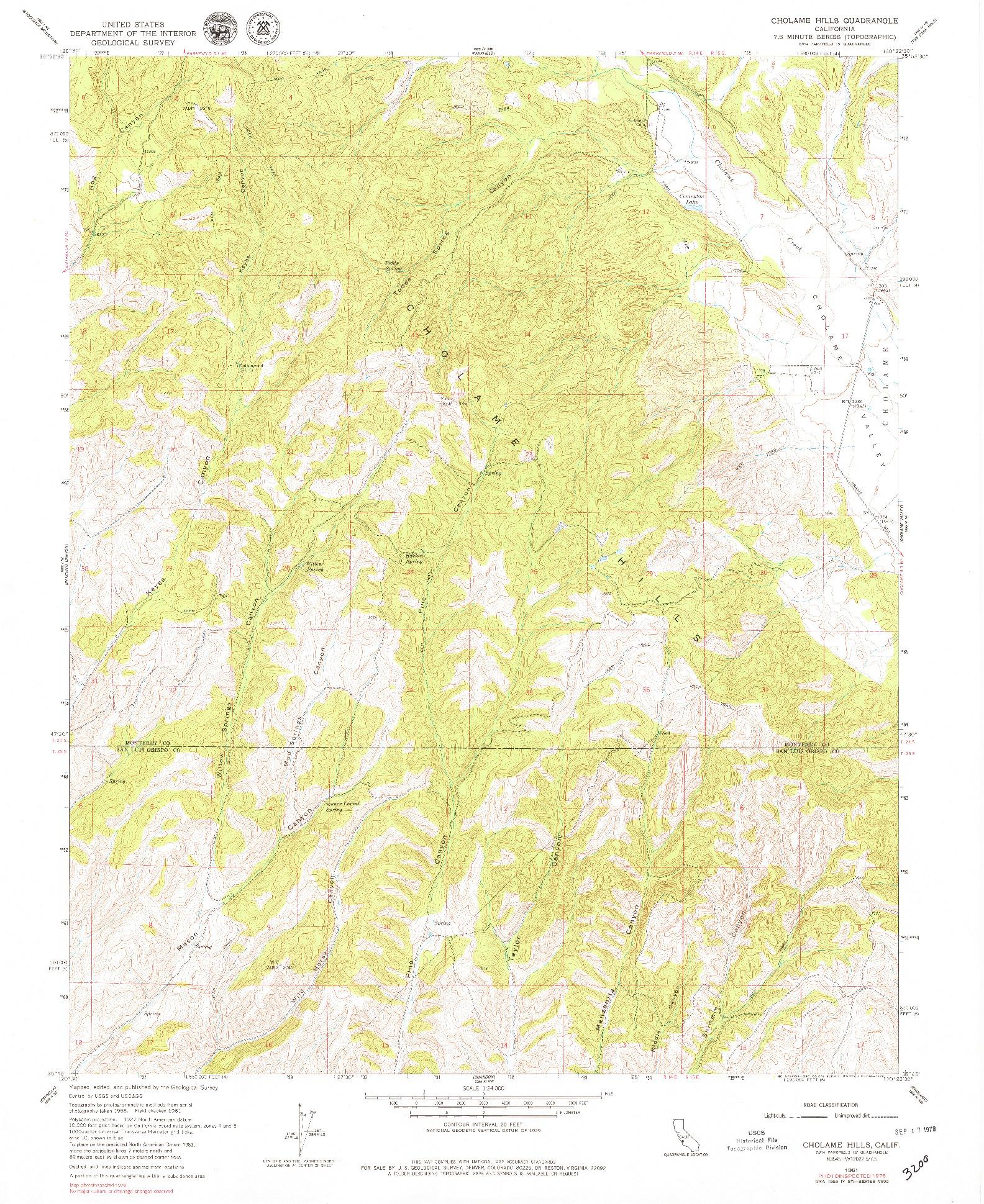 USGS 1:24000-SCALE QUADRANGLE FOR CHOLAME HILLS, CA 1961