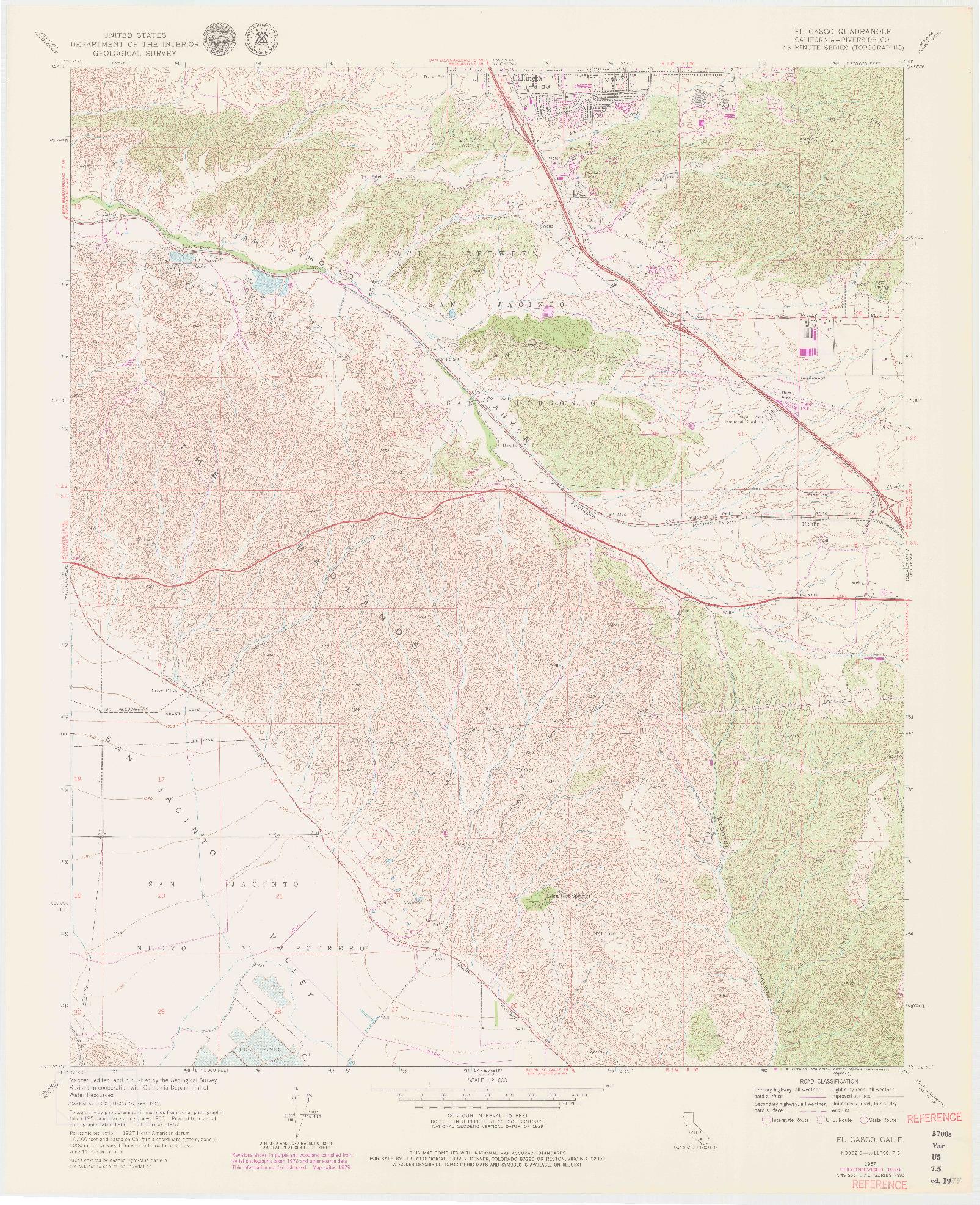 USGS 1:24000-SCALE QUADRANGLE FOR EL CASCO, CA 1967