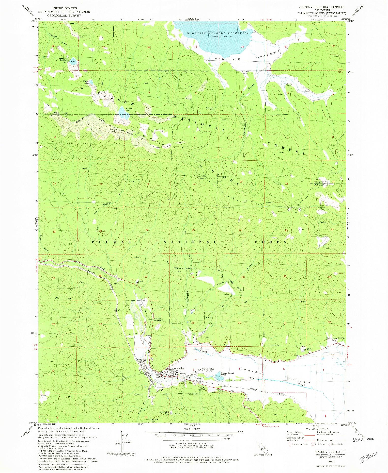 USGS 1:24000-SCALE QUADRANGLE FOR GREENVILLE, CA 1979