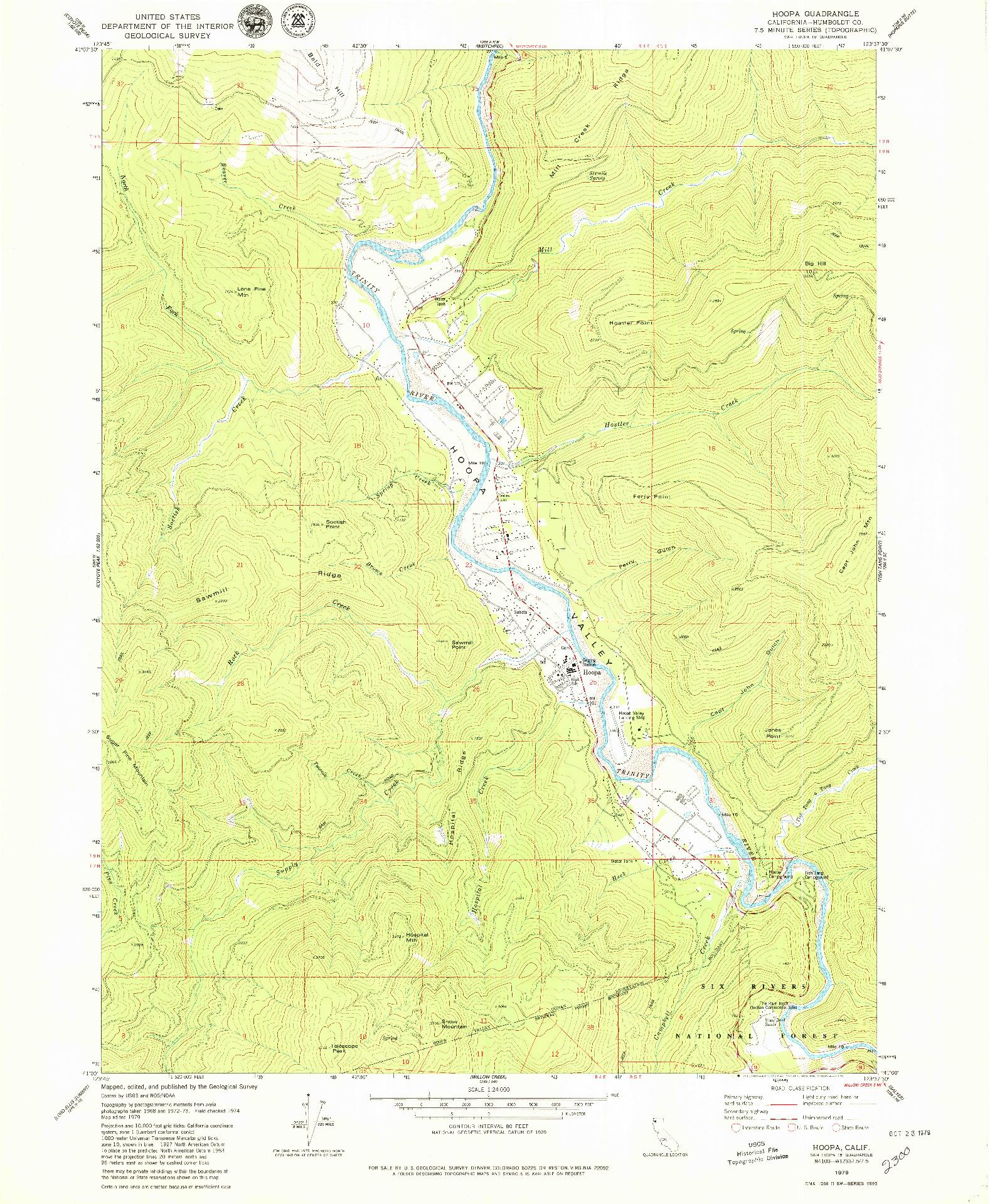 USGS 1:24000-SCALE QUADRANGLE FOR HOOPA, CA 1979
