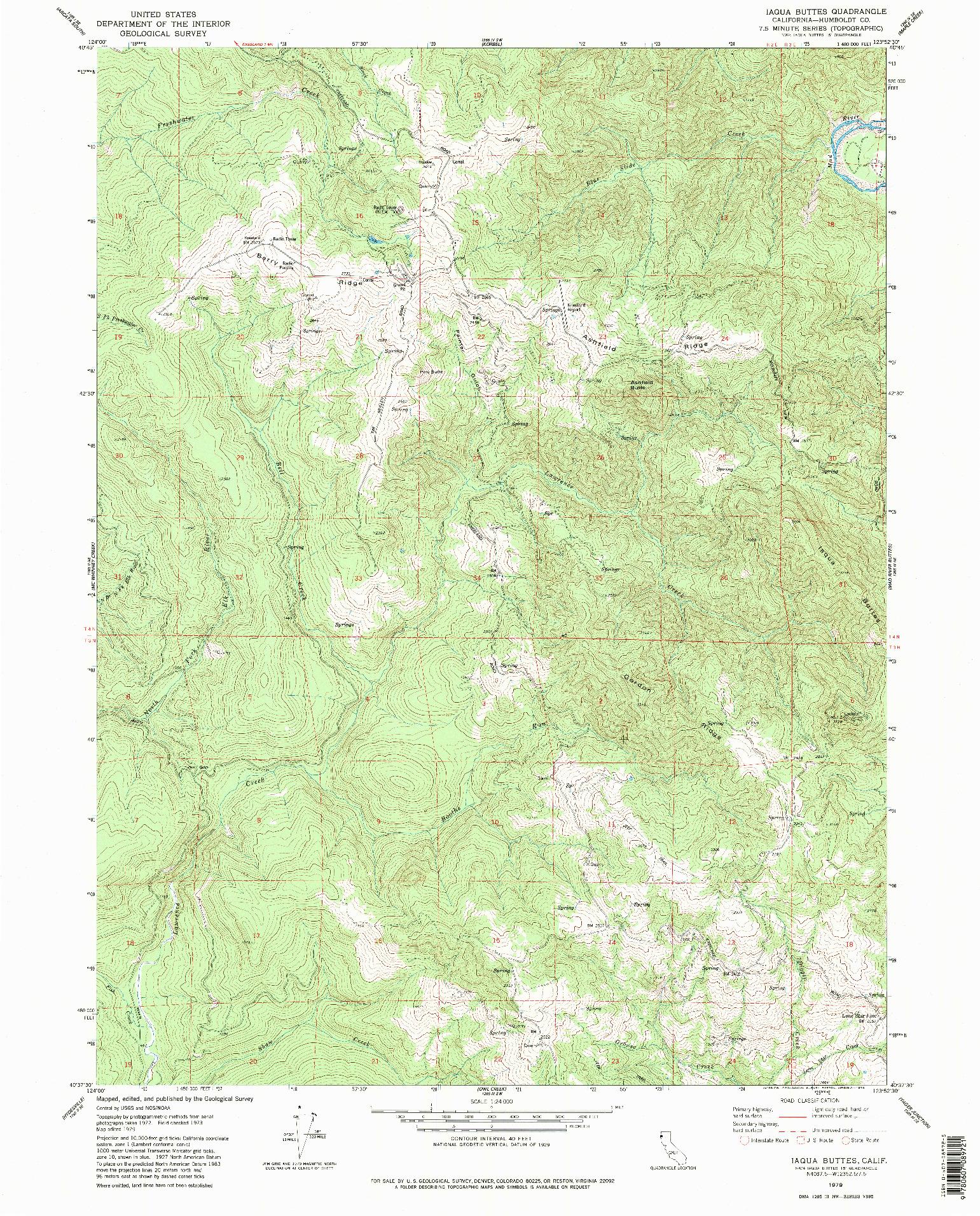 USGS 1:24000-SCALE QUADRANGLE FOR IAQUA BUTTES, CA 1979