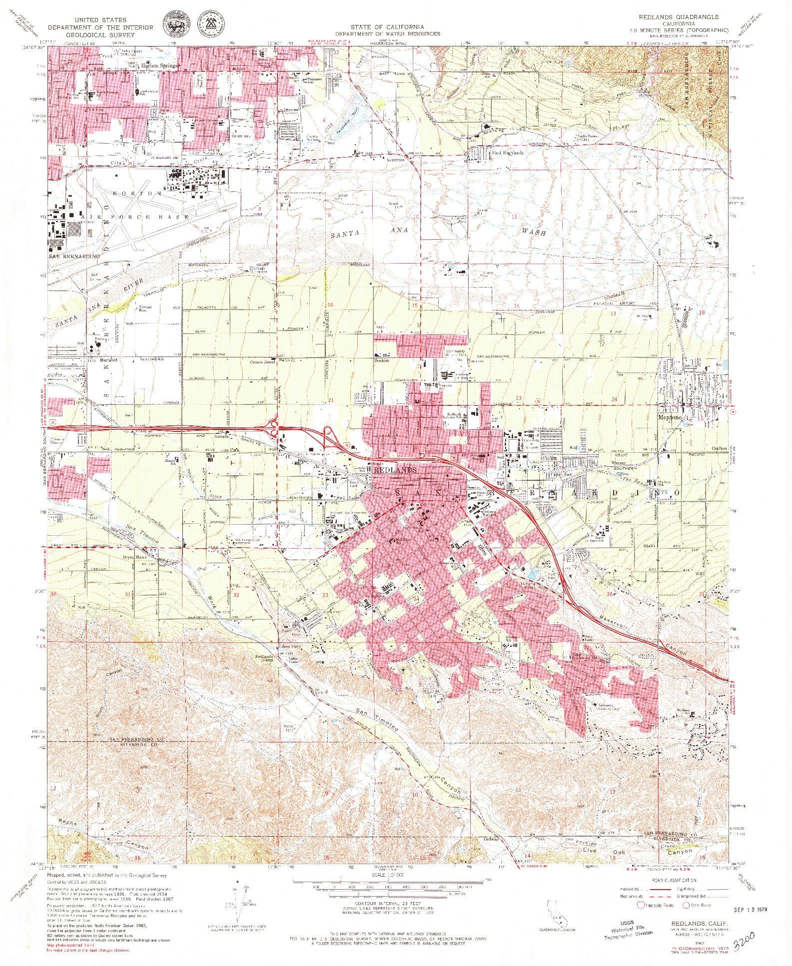 USGS 1:24000-SCALE QUADRANGLE FOR REDLANDS, CA 1967
