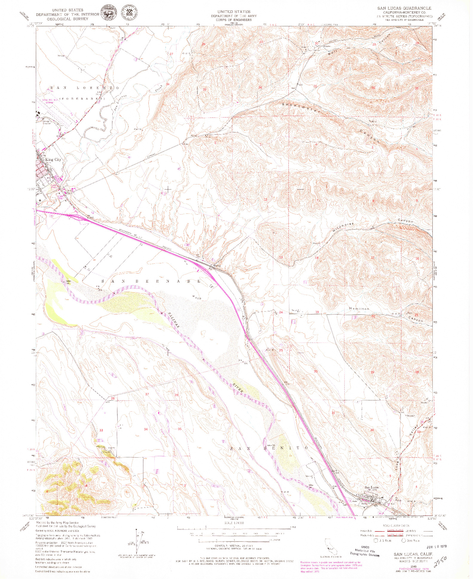 USGS 1:24000-SCALE QUADRANGLE FOR SAN LUCAS, CA 1949