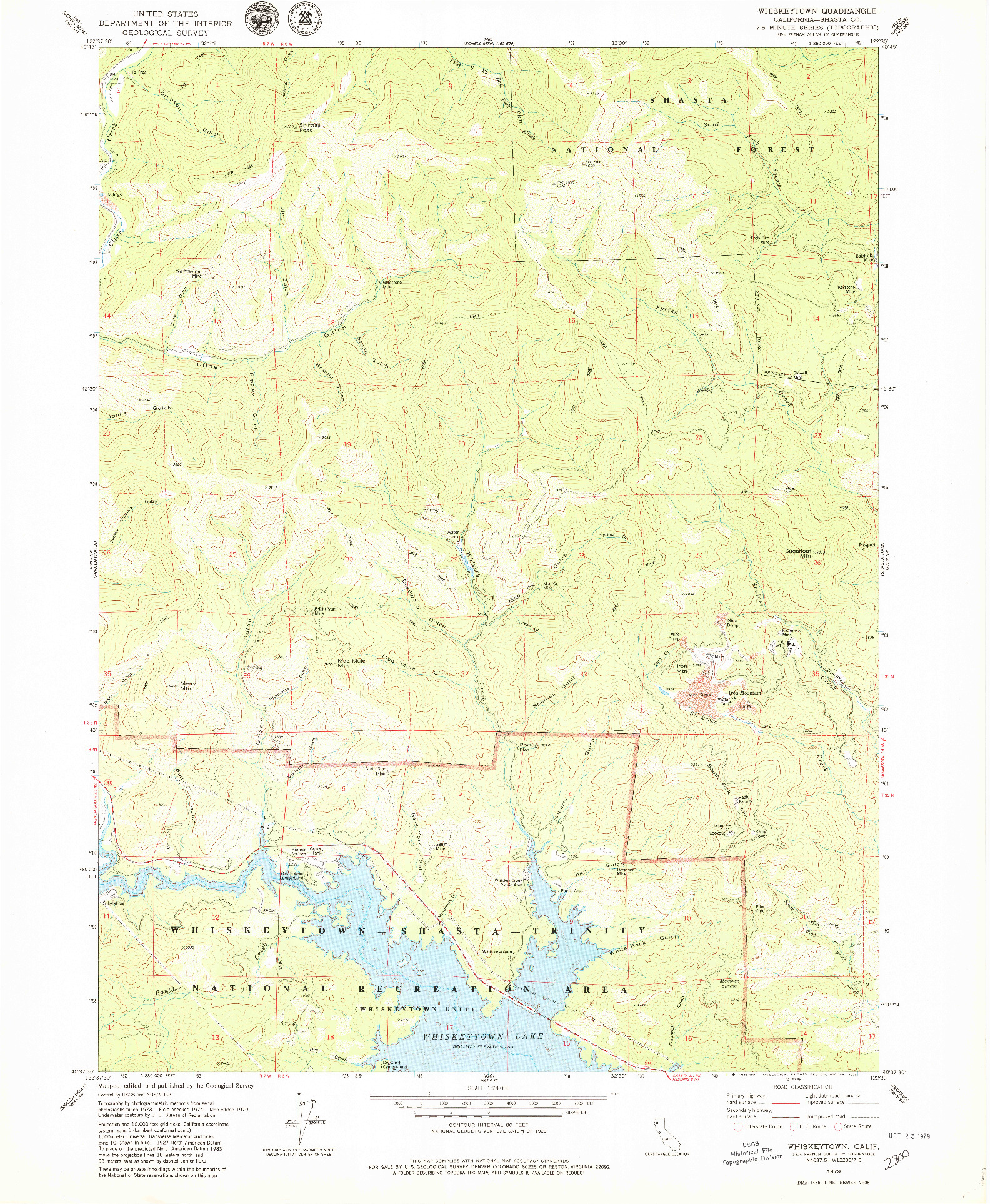 USGS 1:24000-SCALE QUADRANGLE FOR WHISKEYTOWN, CA 1979