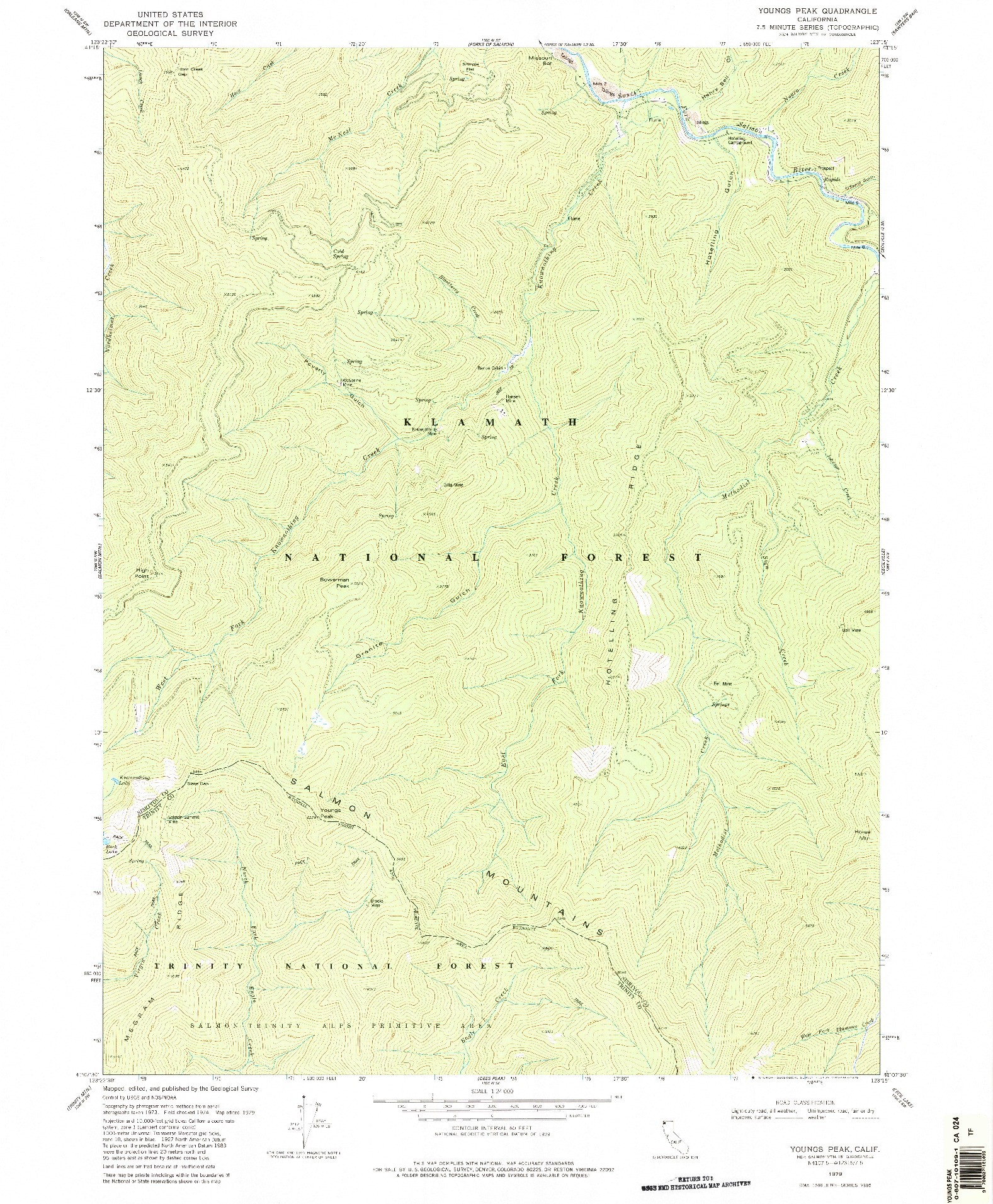 USGS 1:24000-SCALE QUADRANGLE FOR YOUNGS PEAK, CA 1979