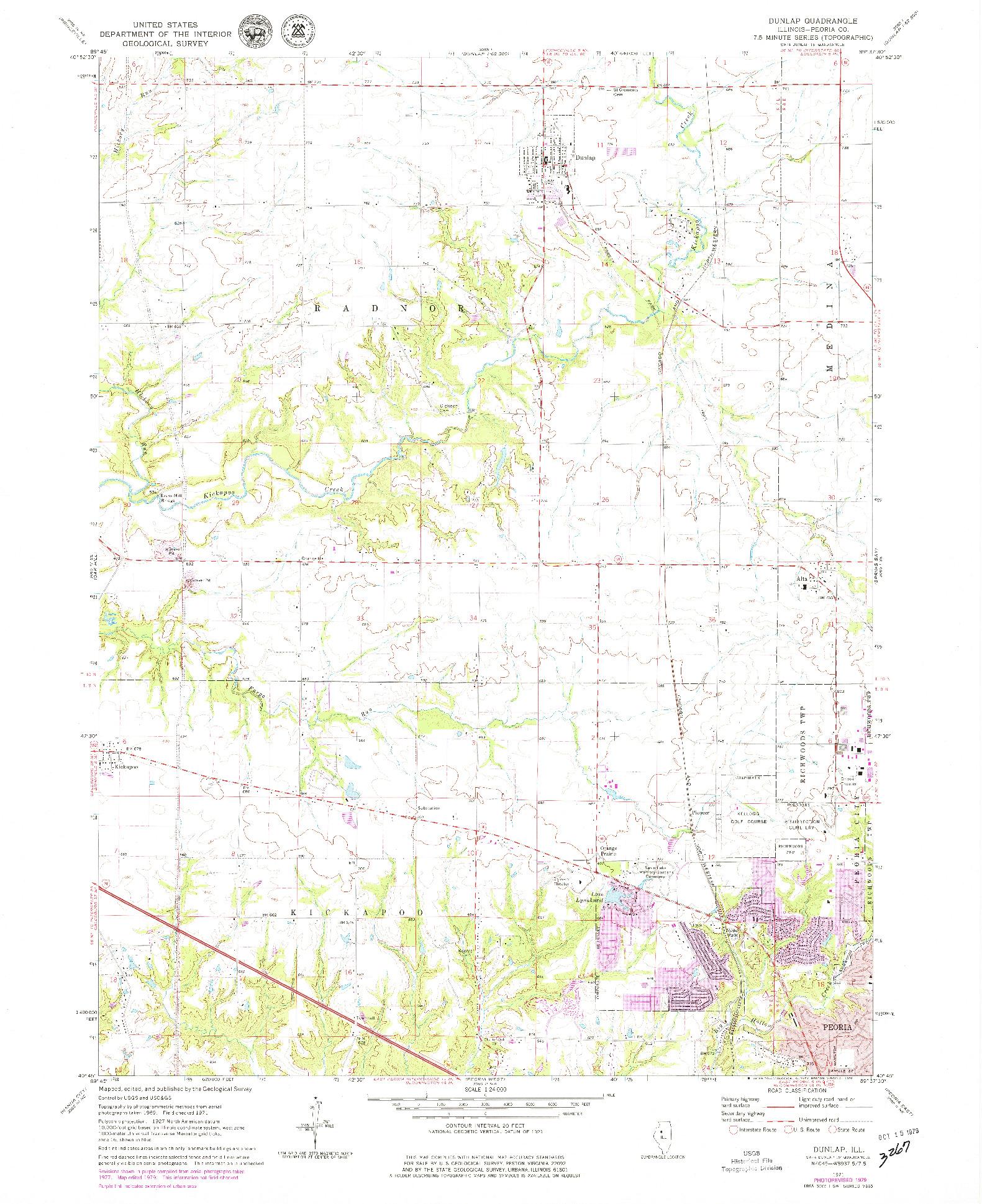 USGS 1:24000-SCALE QUADRANGLE FOR DUNLAP, IL 1971