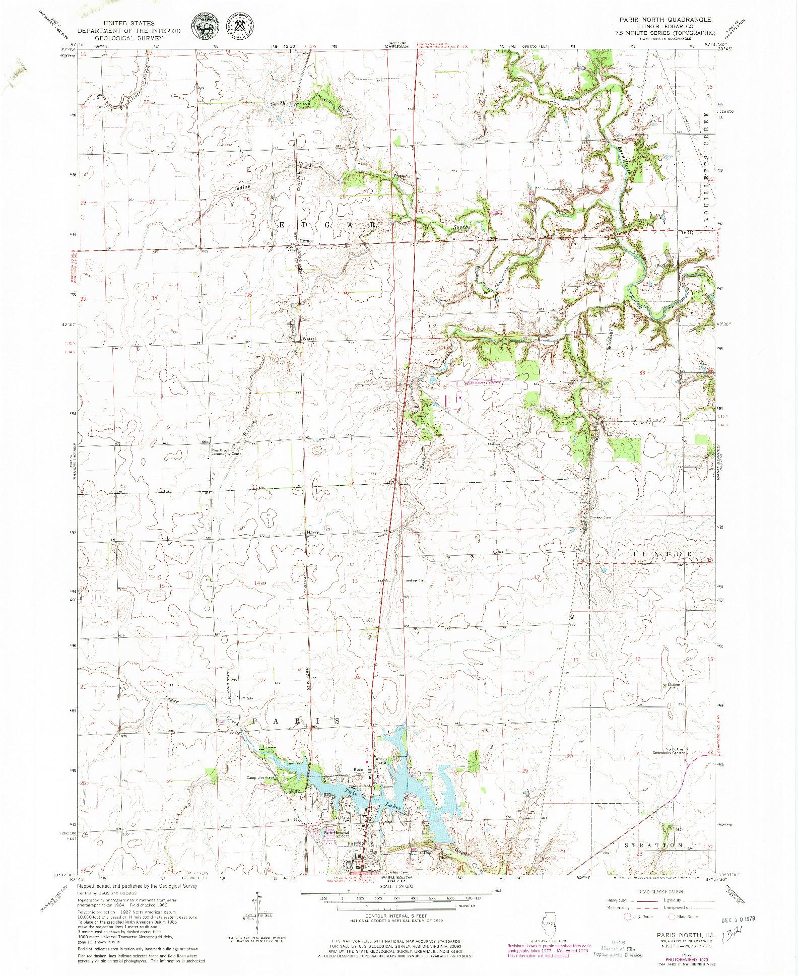 USGS 1:24000-SCALE QUADRANGLE FOR PARIS NORTH, IL 1966