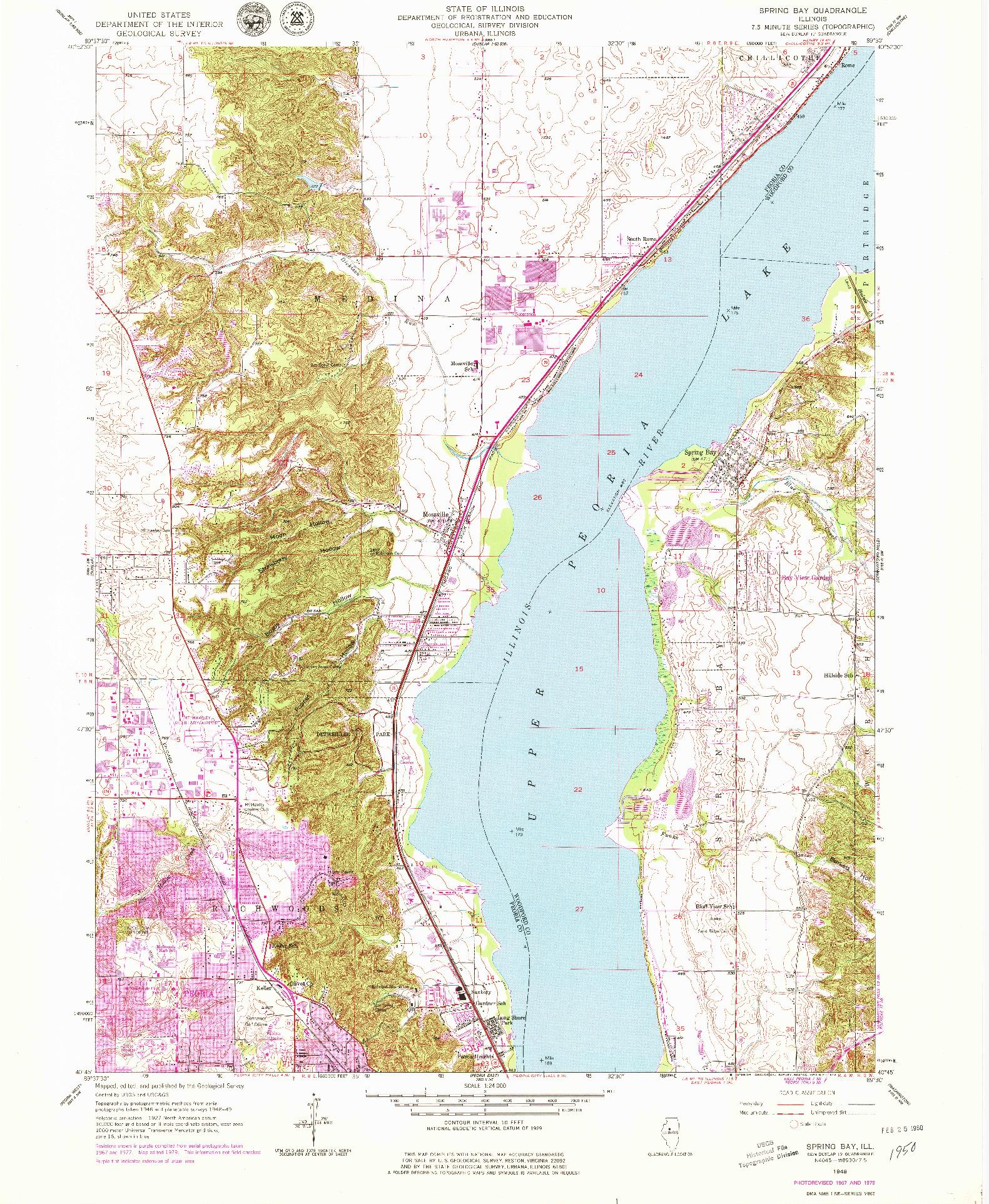 USGS 1:24000-SCALE QUADRANGLE FOR SPRING BAY, IL 1949