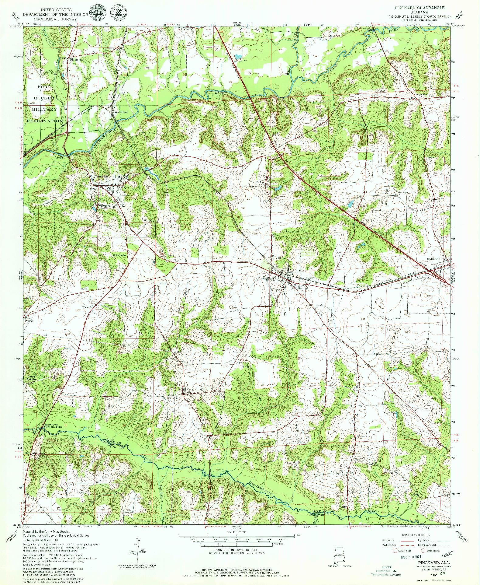 USGS 1:24000-SCALE QUADRANGLE FOR PINCKARD, AL 1960