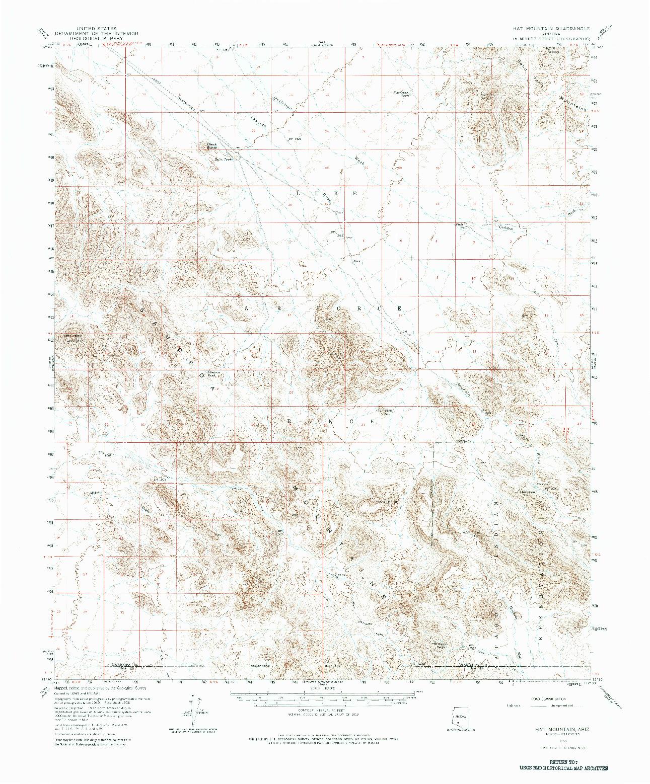 USGS 1:62500-SCALE QUADRANGLE FOR HAT MOUNTAIN, AZ 1958