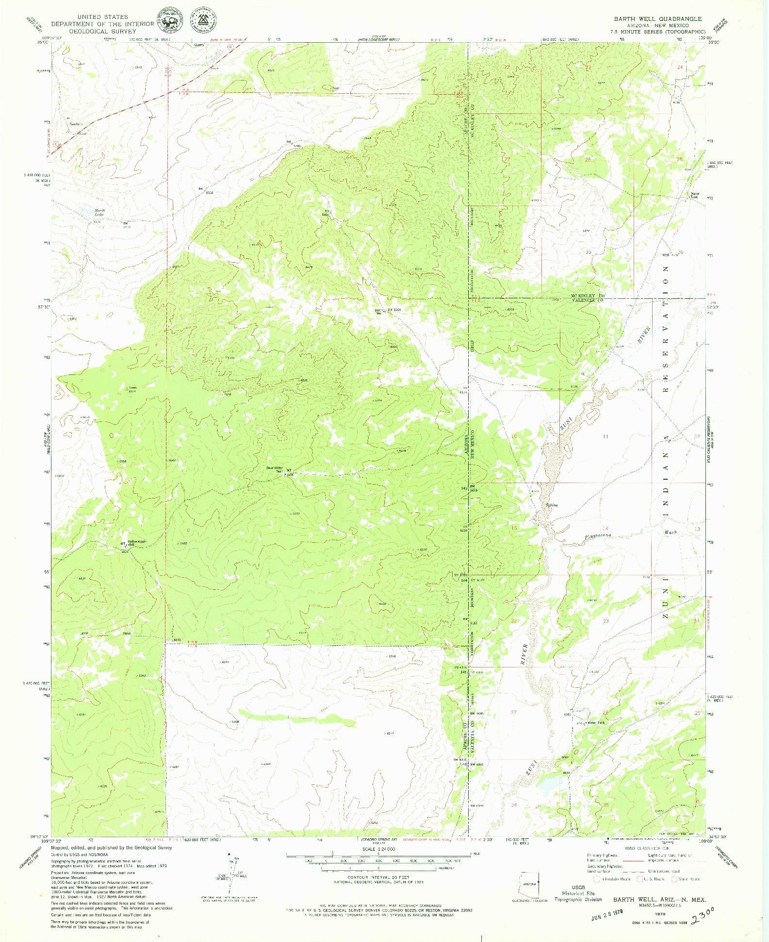 USGS 1:24000-SCALE QUADRANGLE FOR BARTH WELL, AZ 1979