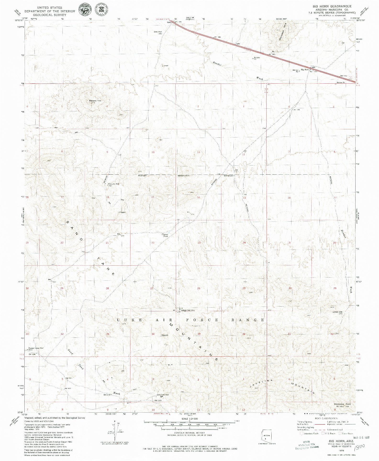 USGS 1:24000-SCALE QUADRANGLE FOR BIG HORN, AZ 1979