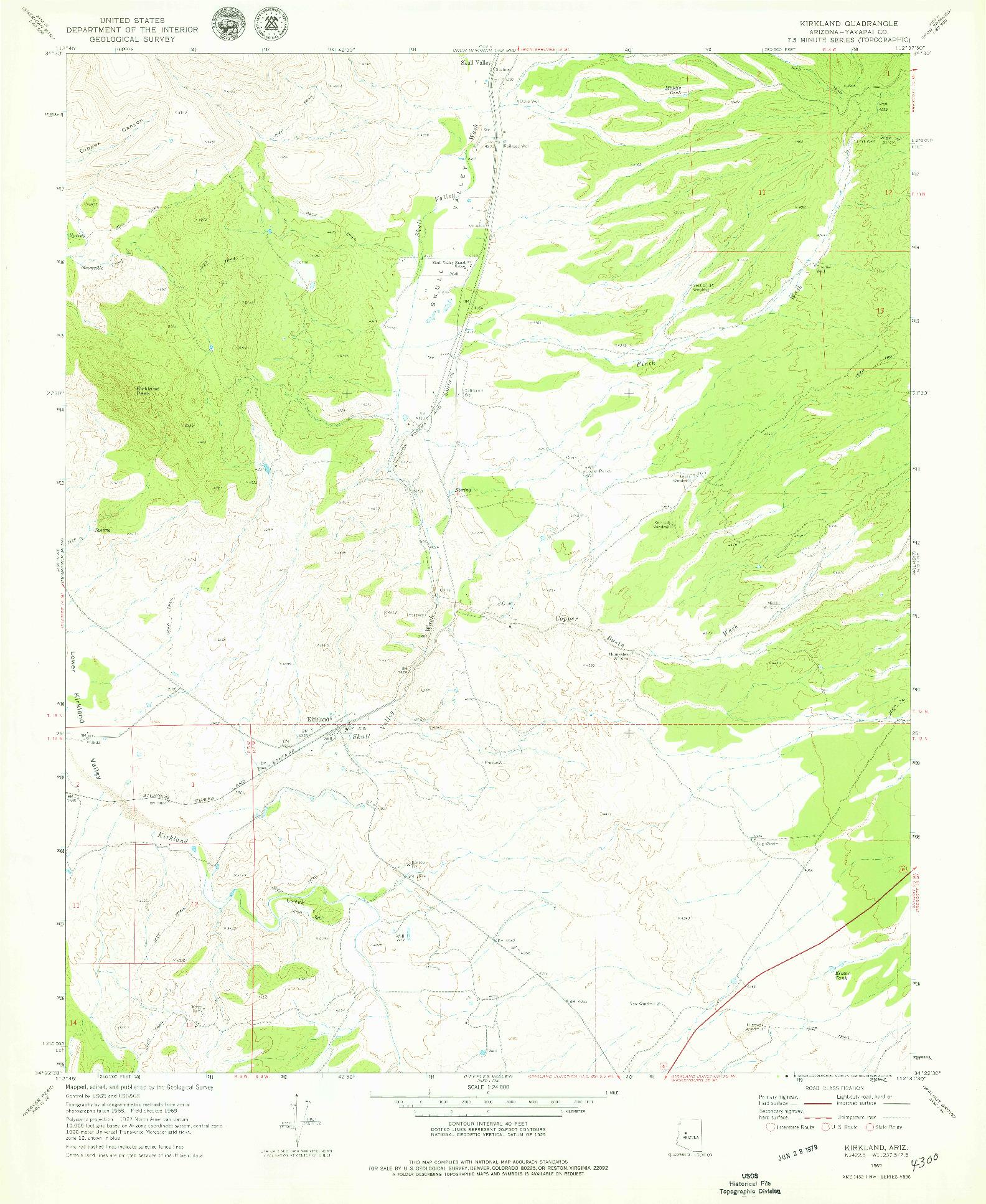 USGS 1:24000-SCALE QUADRANGLE FOR KIRKLAND, AZ 1969