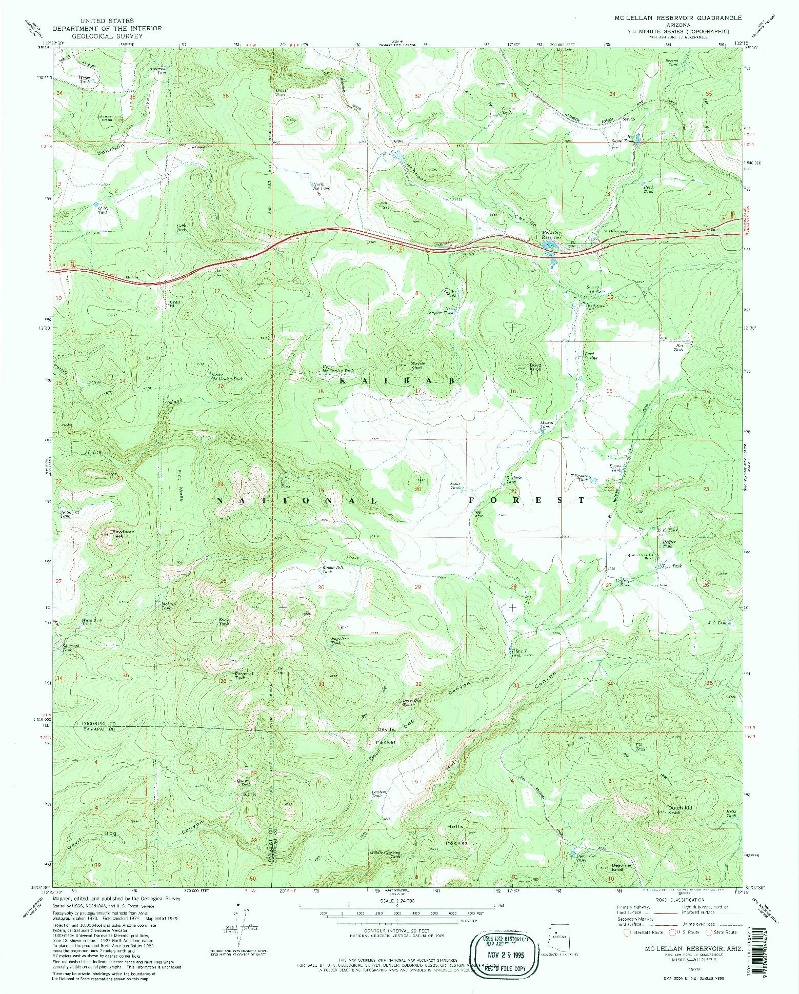 USGS 1:24000-SCALE QUADRANGLE FOR MC LELLAN RESERVOIR, AZ 1979