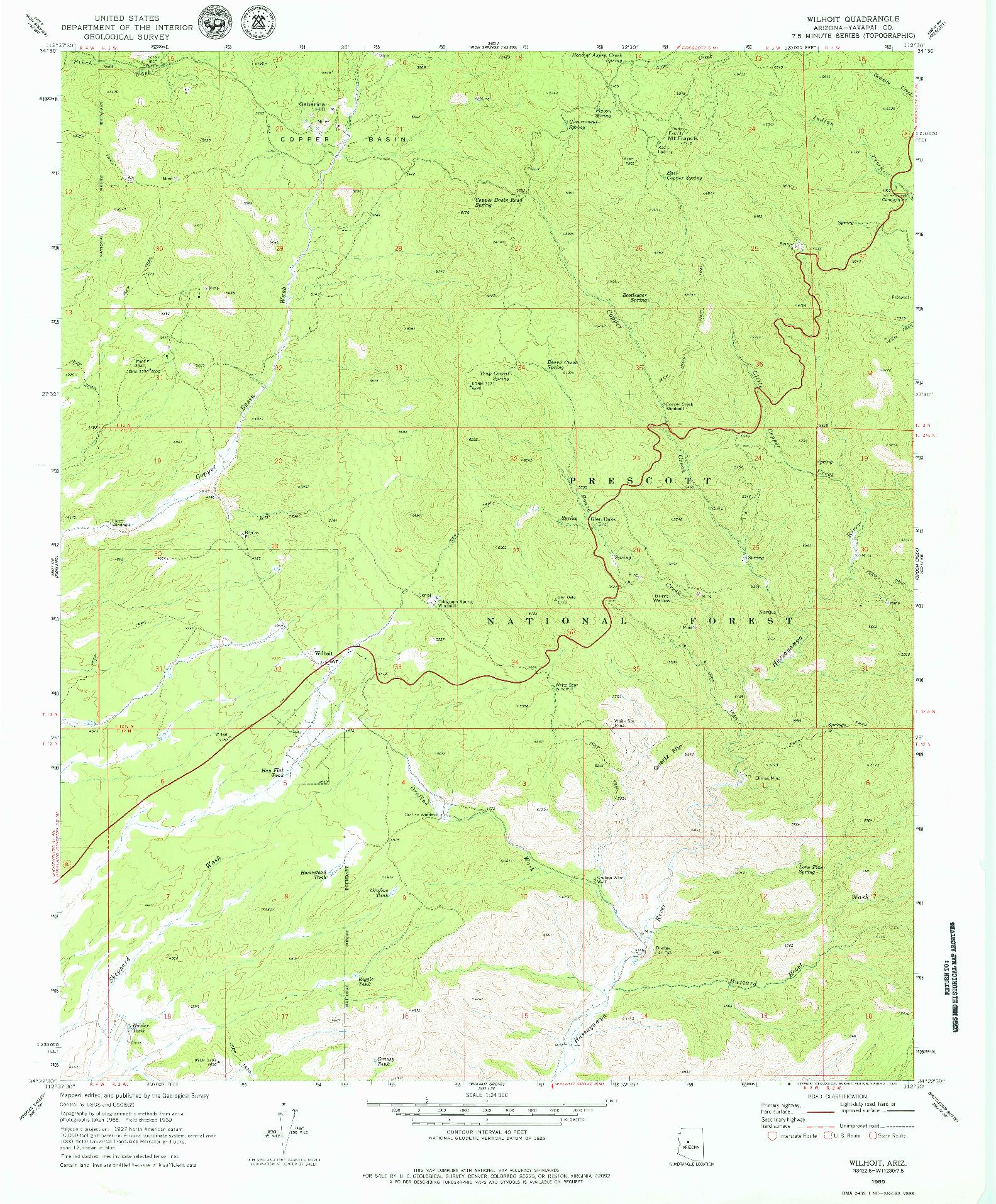 USGS 1:24000-SCALE QUADRANGLE FOR WILHOIT, AZ 1969