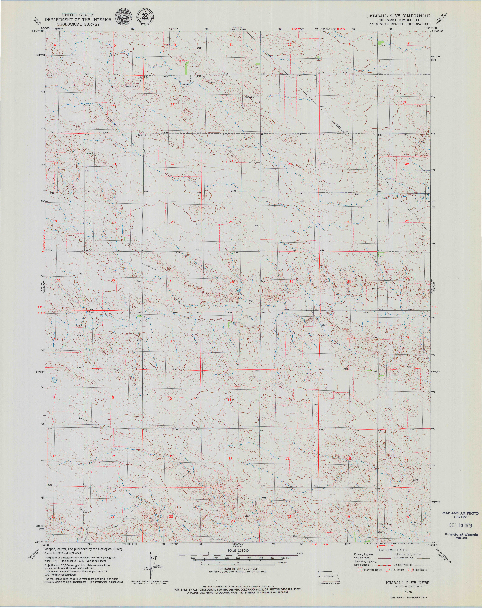 USGS 1:24000-SCALE QUADRANGLE FOR KIMBALL 2 SW, NE 1979