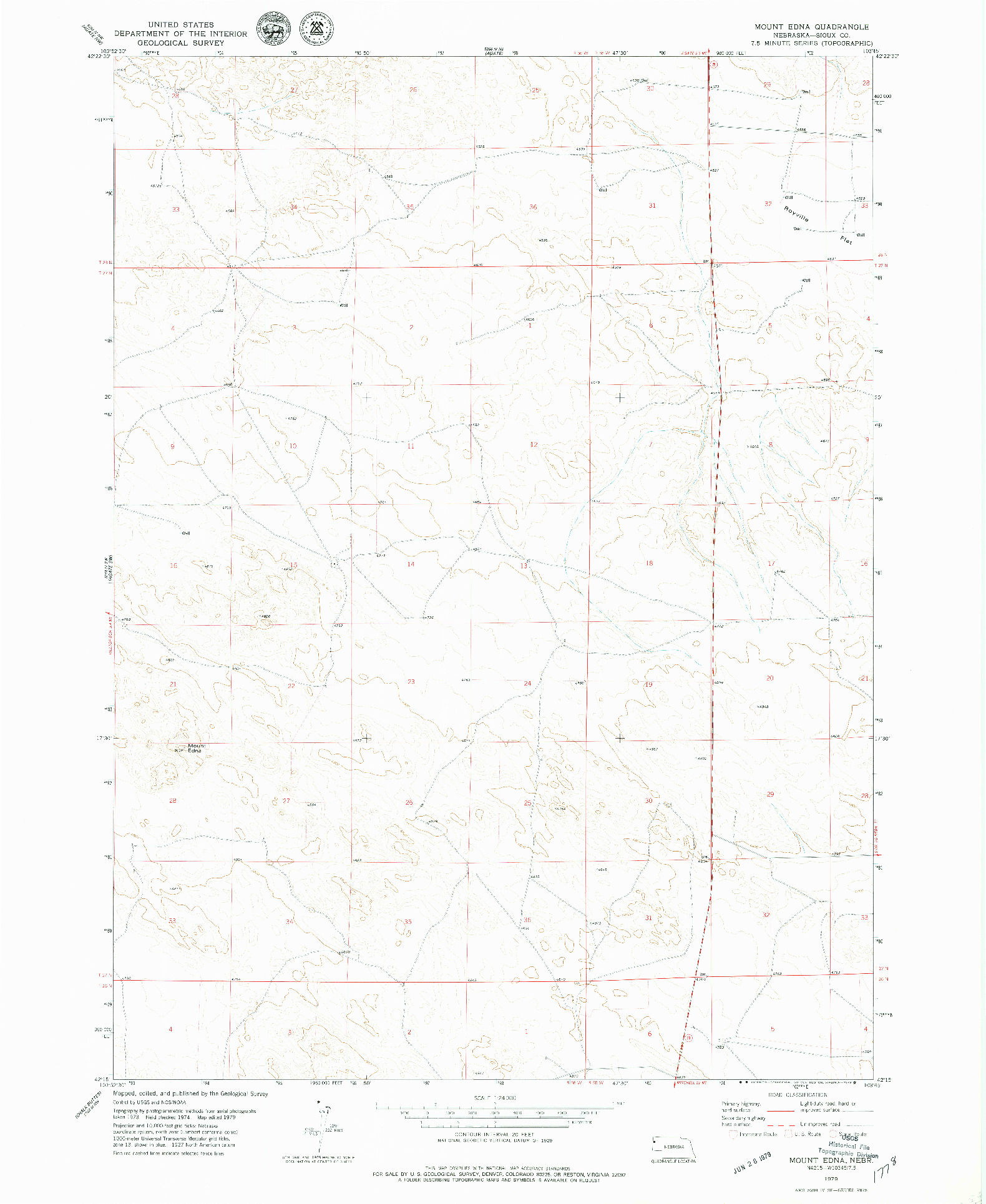 USGS 1:24000-SCALE QUADRANGLE FOR MOUNT EDNA, NE 1979