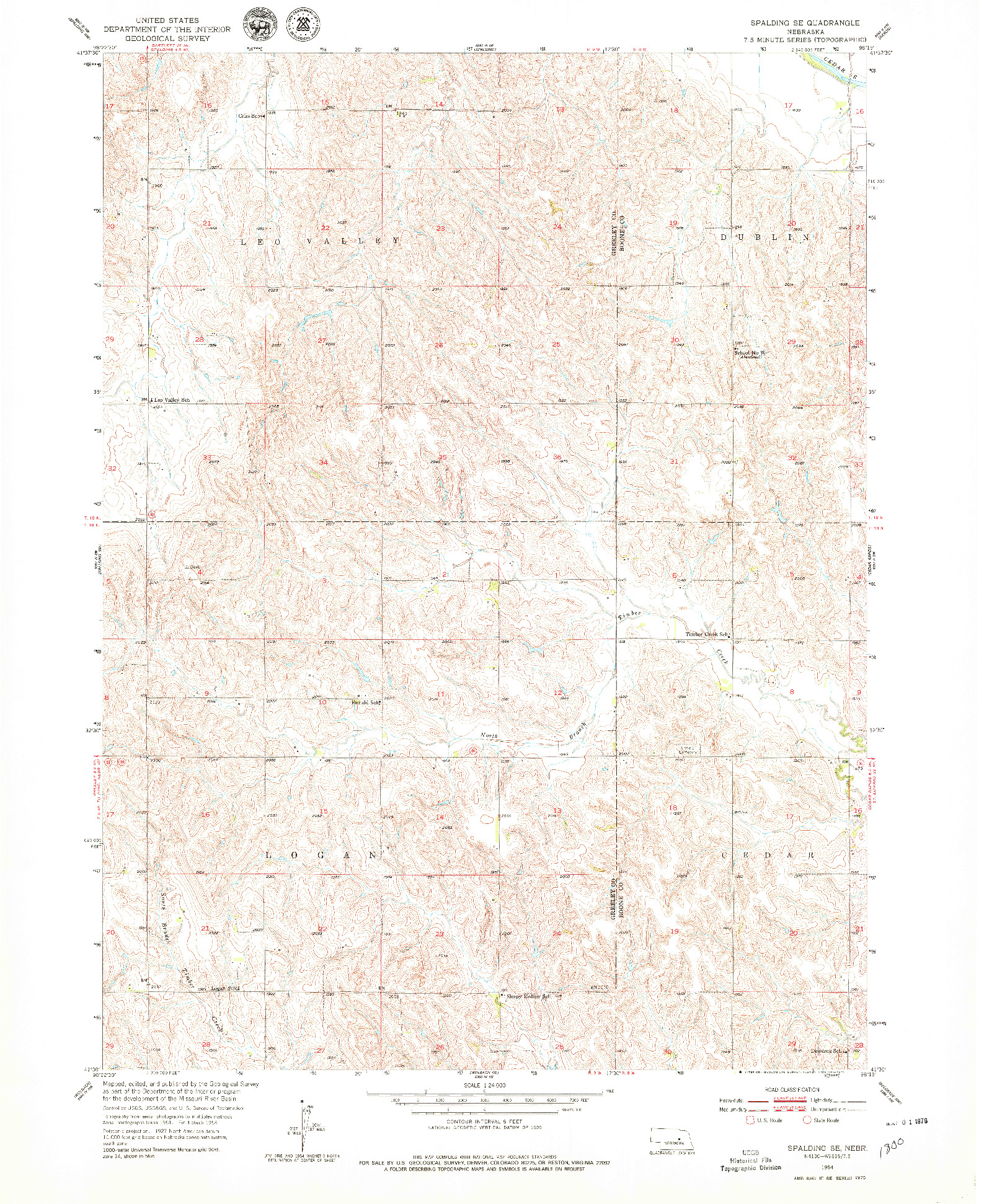 USGS 1:24000-SCALE QUADRANGLE FOR SPALDING SE, NE 1954