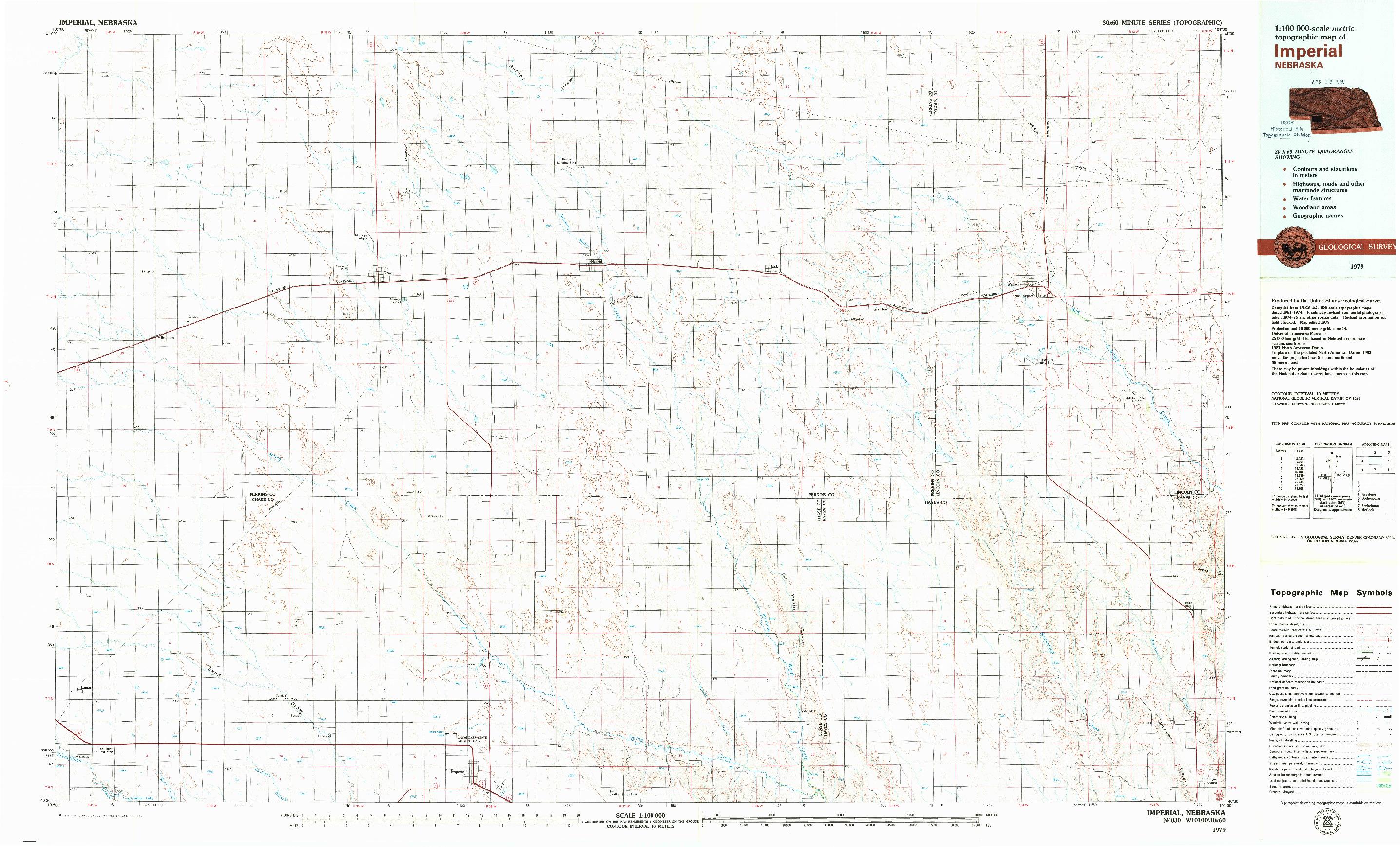 USGS 1:100000-SCALE QUADRANGLE FOR IMPERIAL, NE 1979