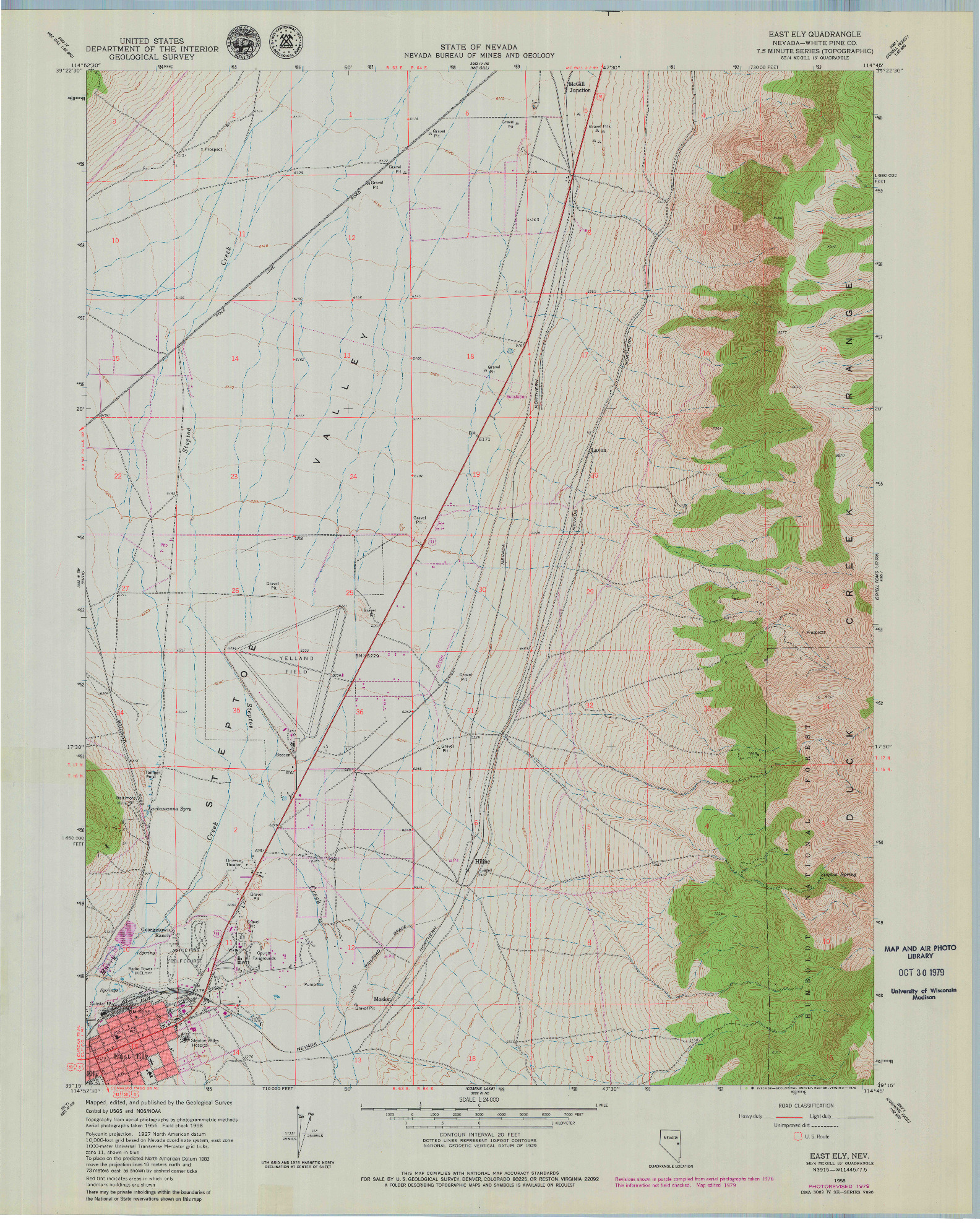 USGS 1:24000-SCALE QUADRANGLE FOR EAST ELY, NV 1958